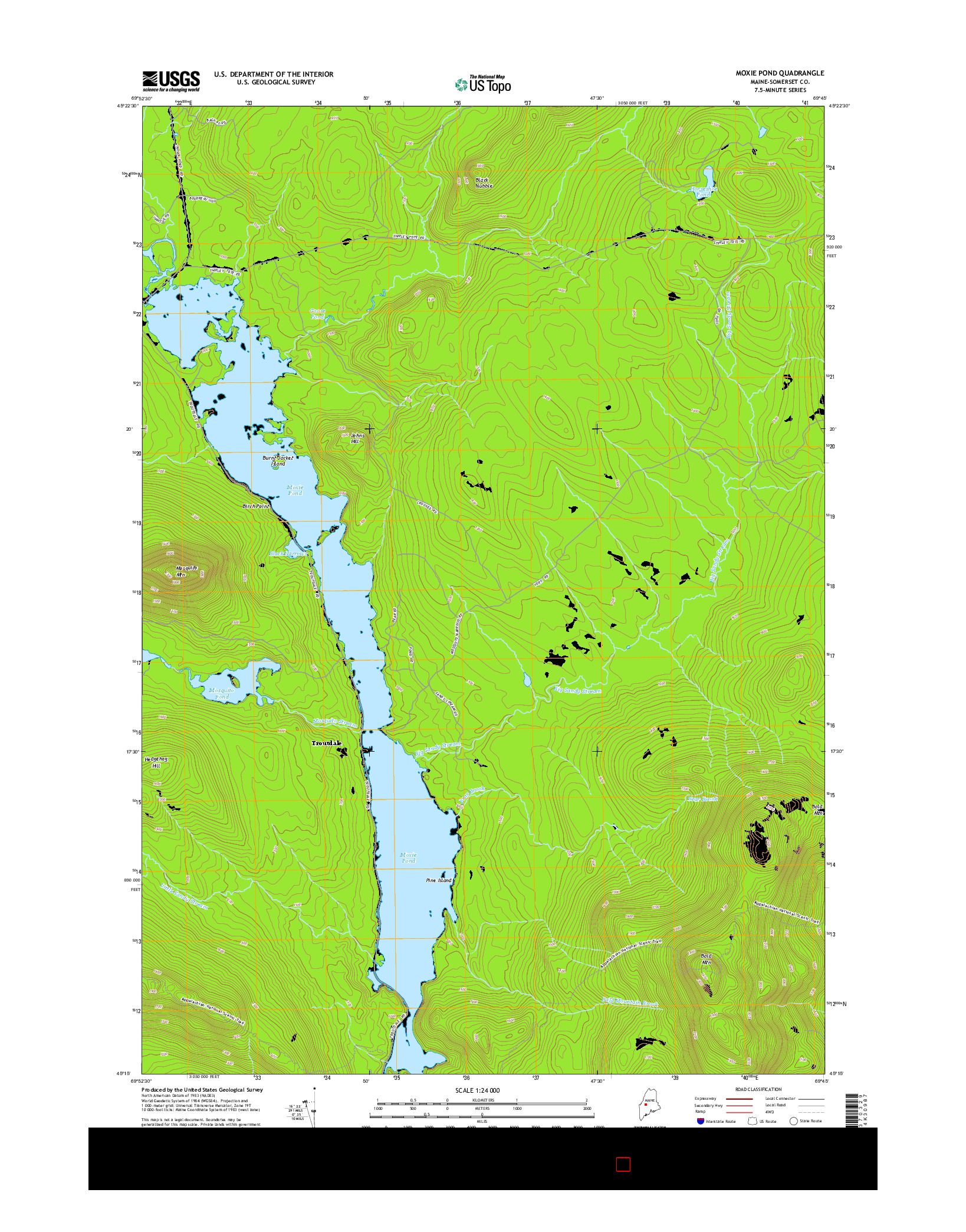USGS US TOPO 7.5-MINUTE MAP FOR MOXIE POND, ME 2014