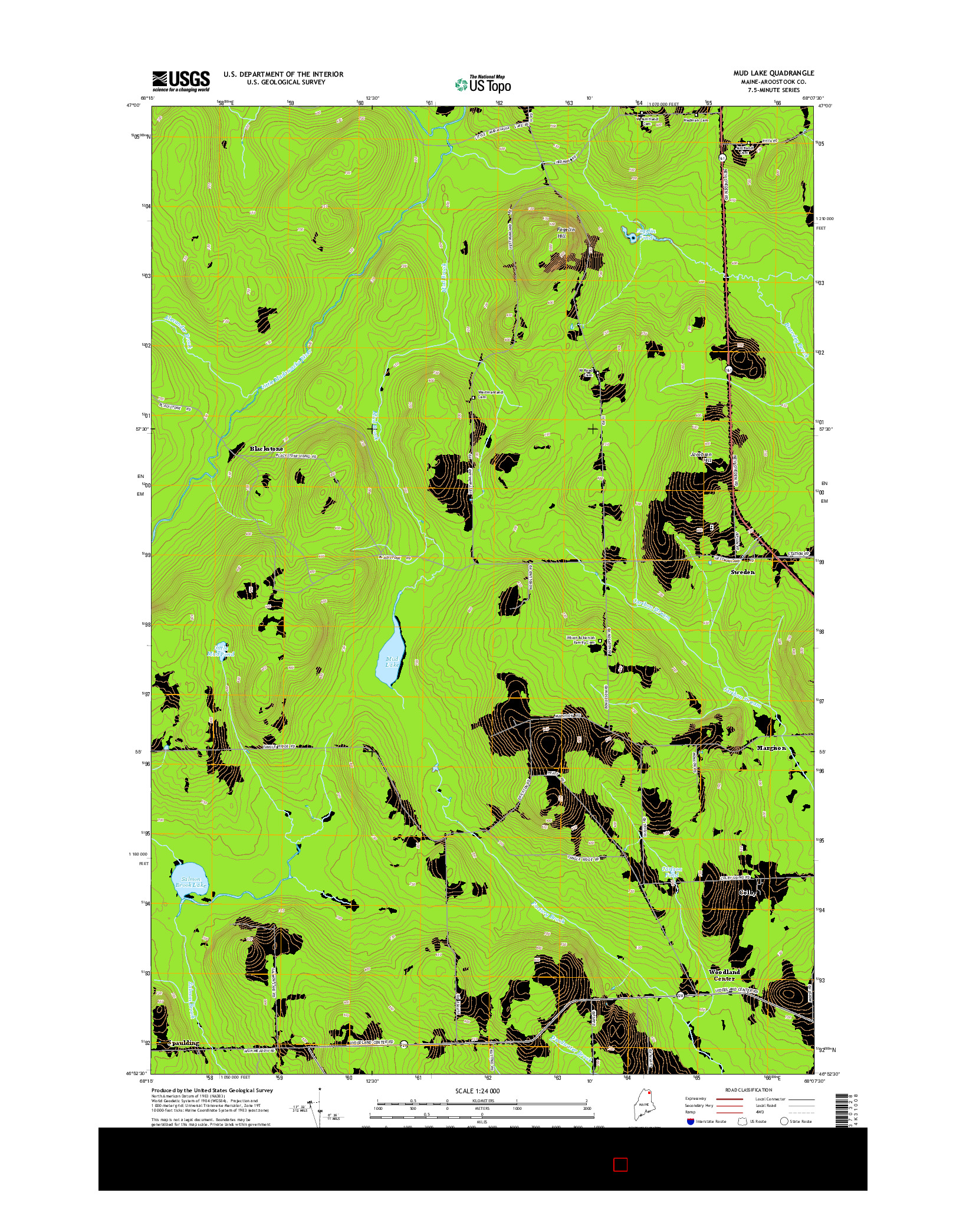 USGS US TOPO 7.5-MINUTE MAP FOR MUD LAKE, ME 2014