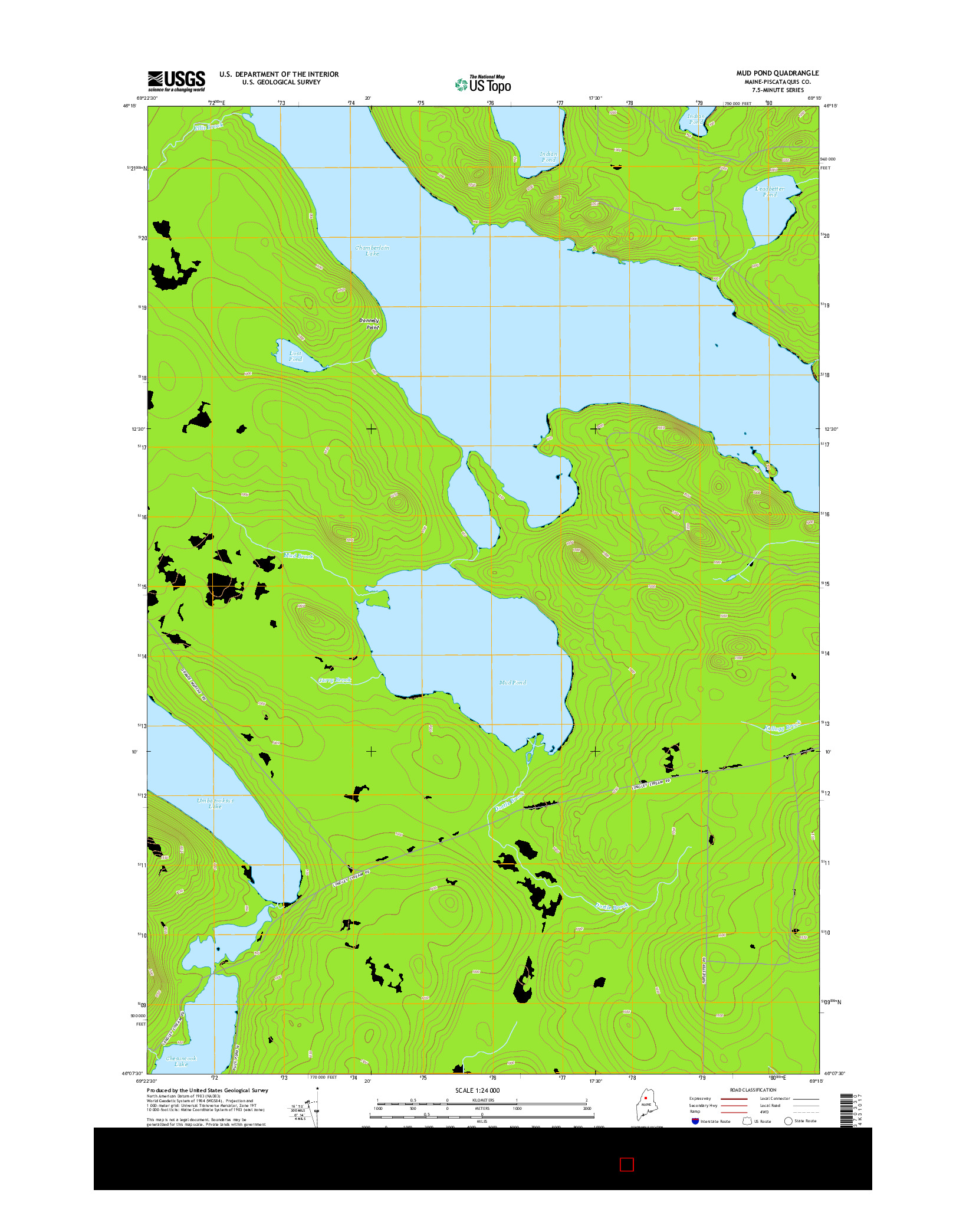 USGS US TOPO 7.5-MINUTE MAP FOR MUD POND, ME 2014