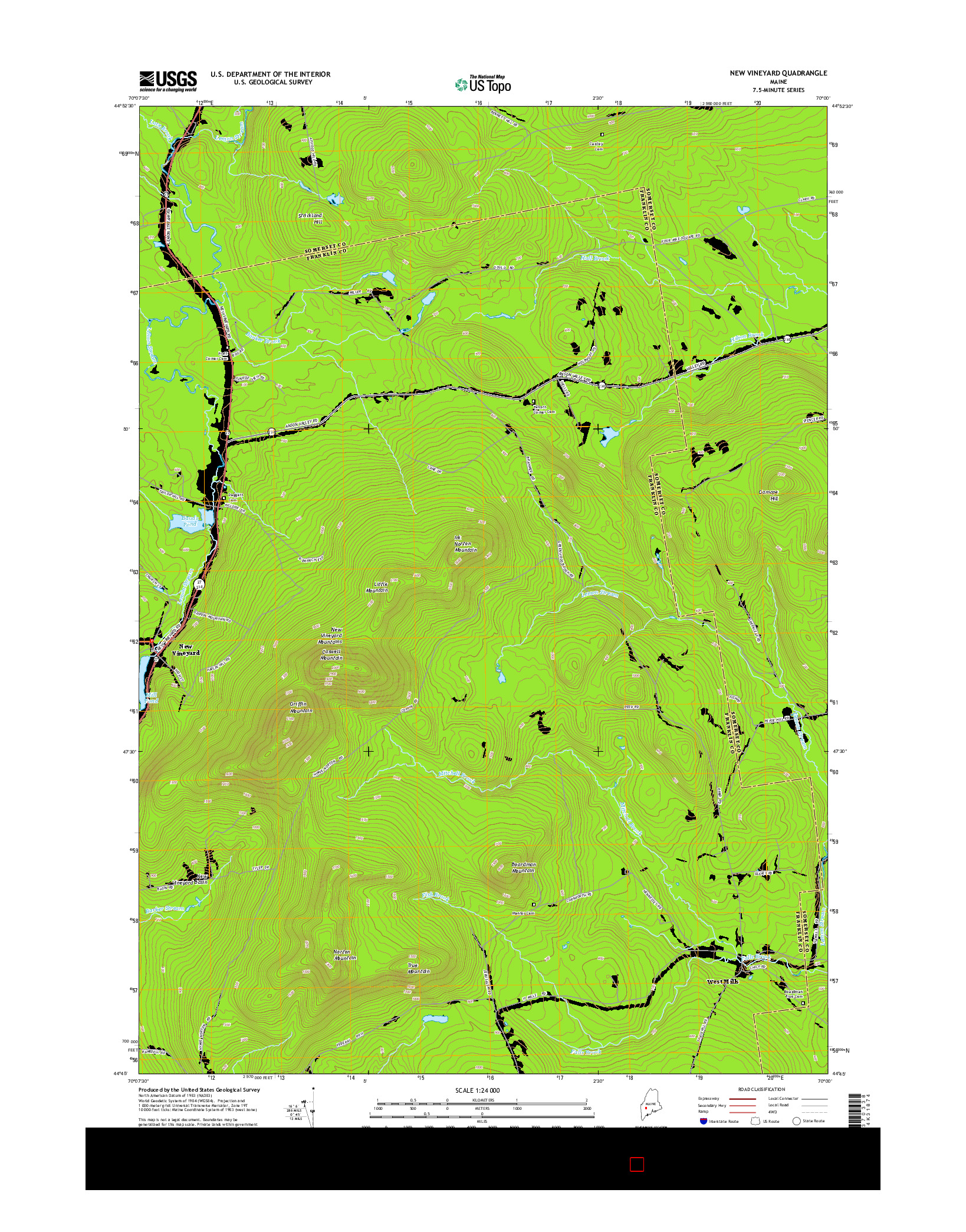 USGS US TOPO 7.5-MINUTE MAP FOR NEW VINEYARD, ME 2014