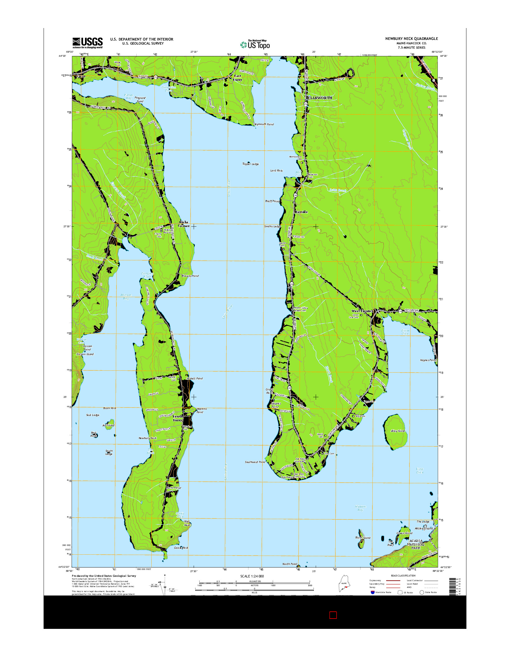 USGS US TOPO 7.5-MINUTE MAP FOR NEWBURY NECK, ME 2014