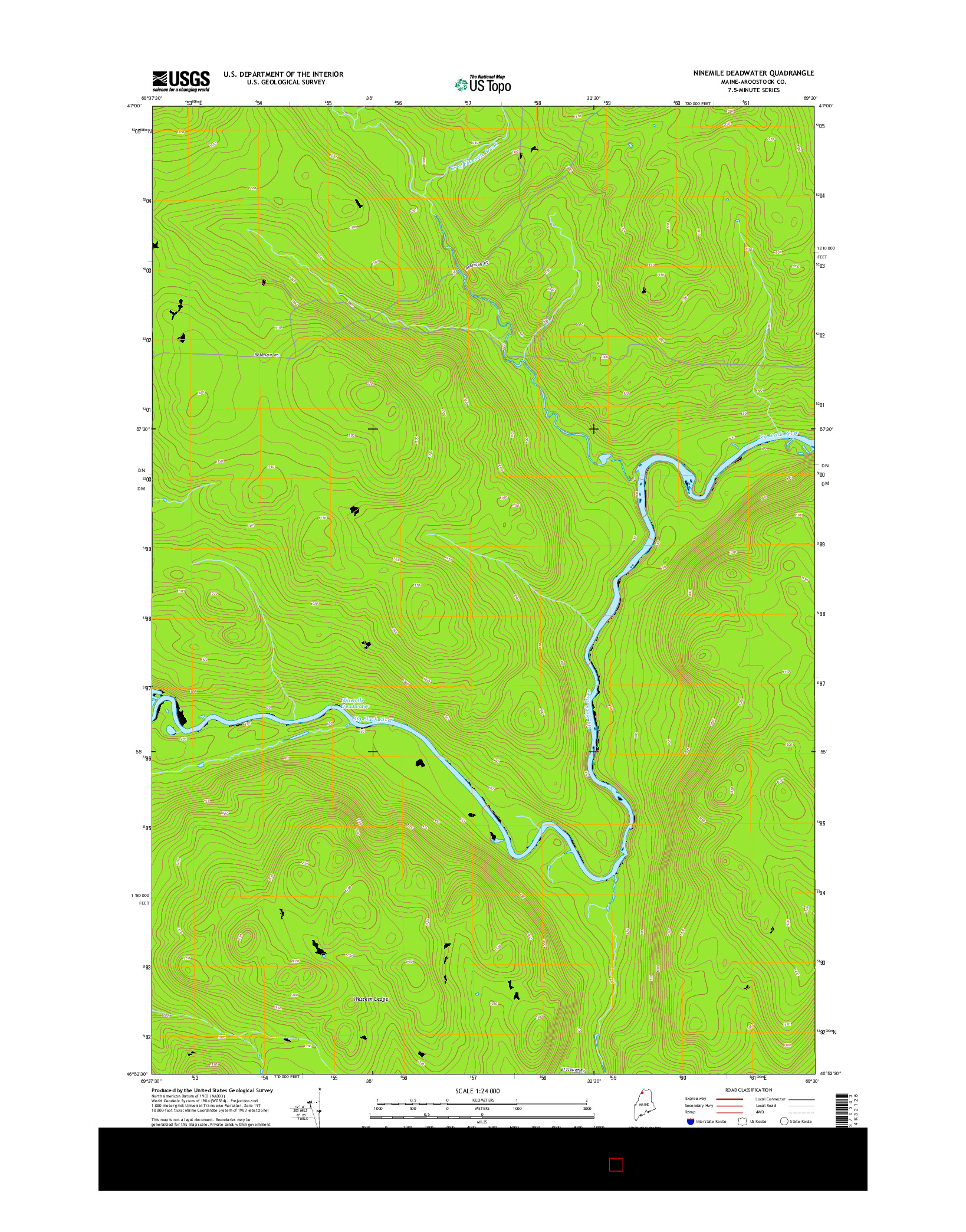 USGS US TOPO 7.5-MINUTE MAP FOR NINEMILE DEADWATER, ME 2014