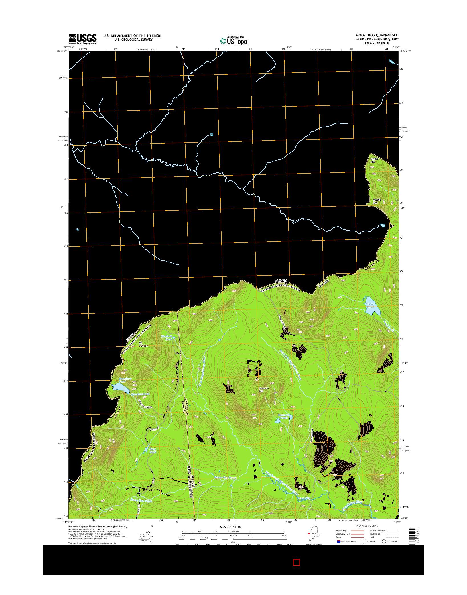 USGS US TOPO 7.5-MINUTE MAP FOR MOOSE BOG, ME-NH-QC 2014
