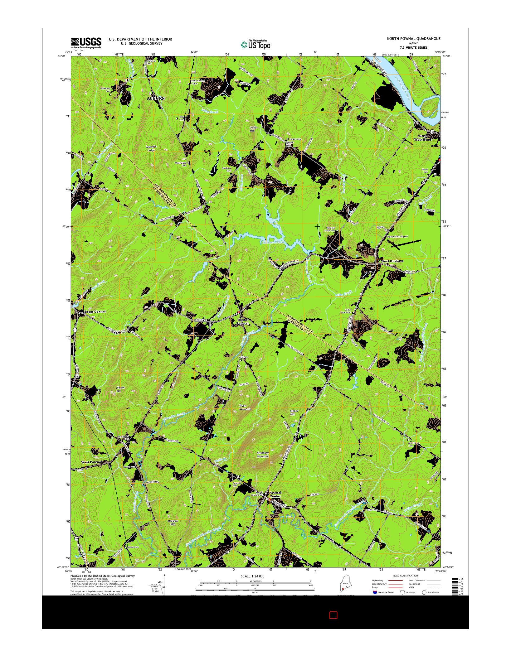 USGS US TOPO 7.5-MINUTE MAP FOR NORTH POWNAL, ME 2014