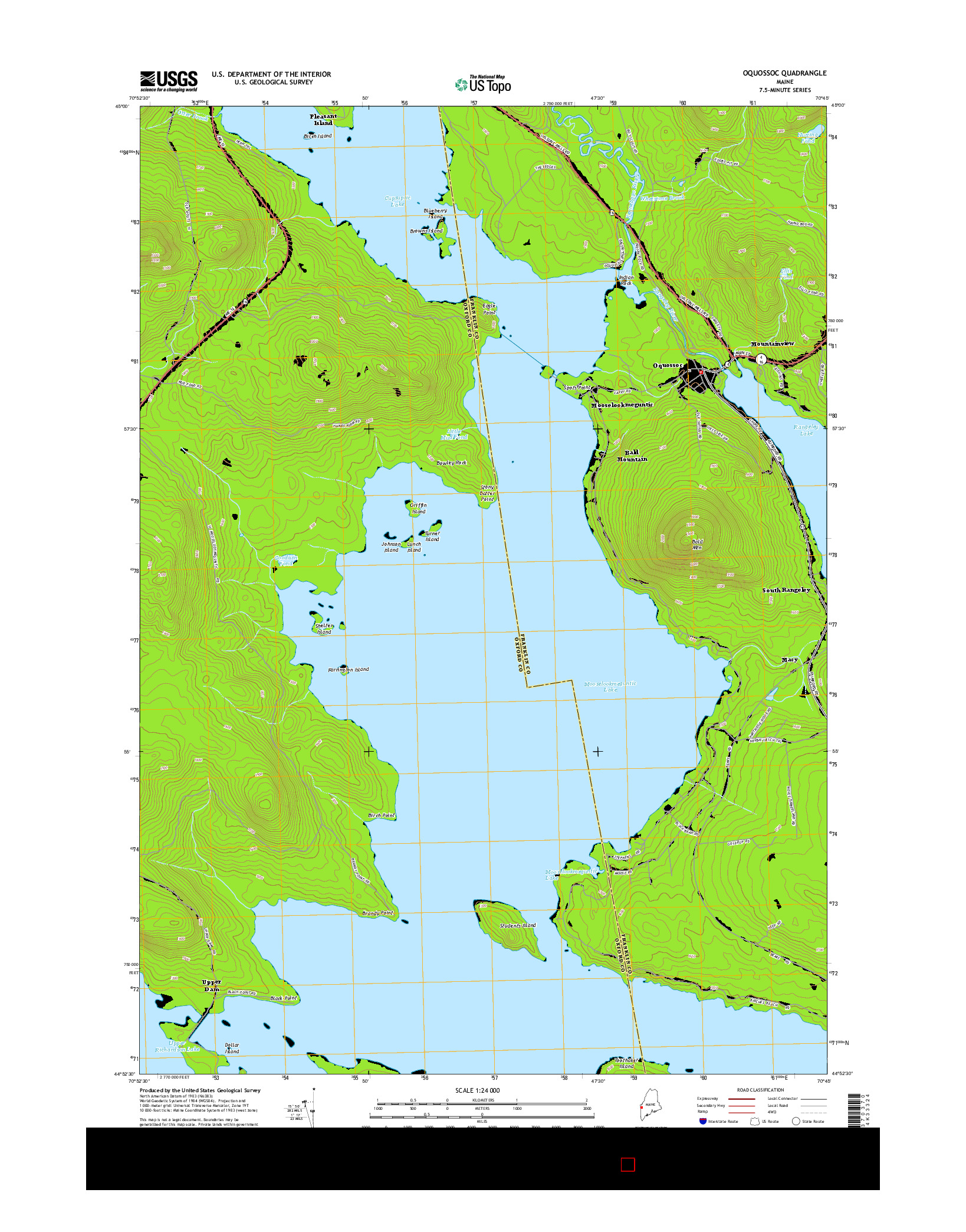 USGS US TOPO 7.5-MINUTE MAP FOR OQUOSSOC, ME 2014