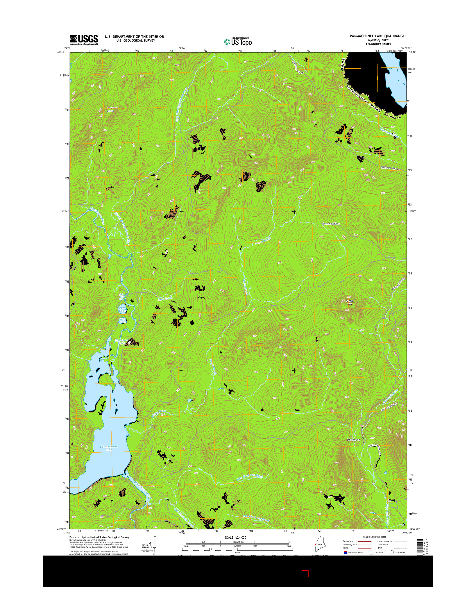 USGS US TOPO 7.5-MINUTE MAP FOR PARMACHENEE LAKE, ME-QC 2014