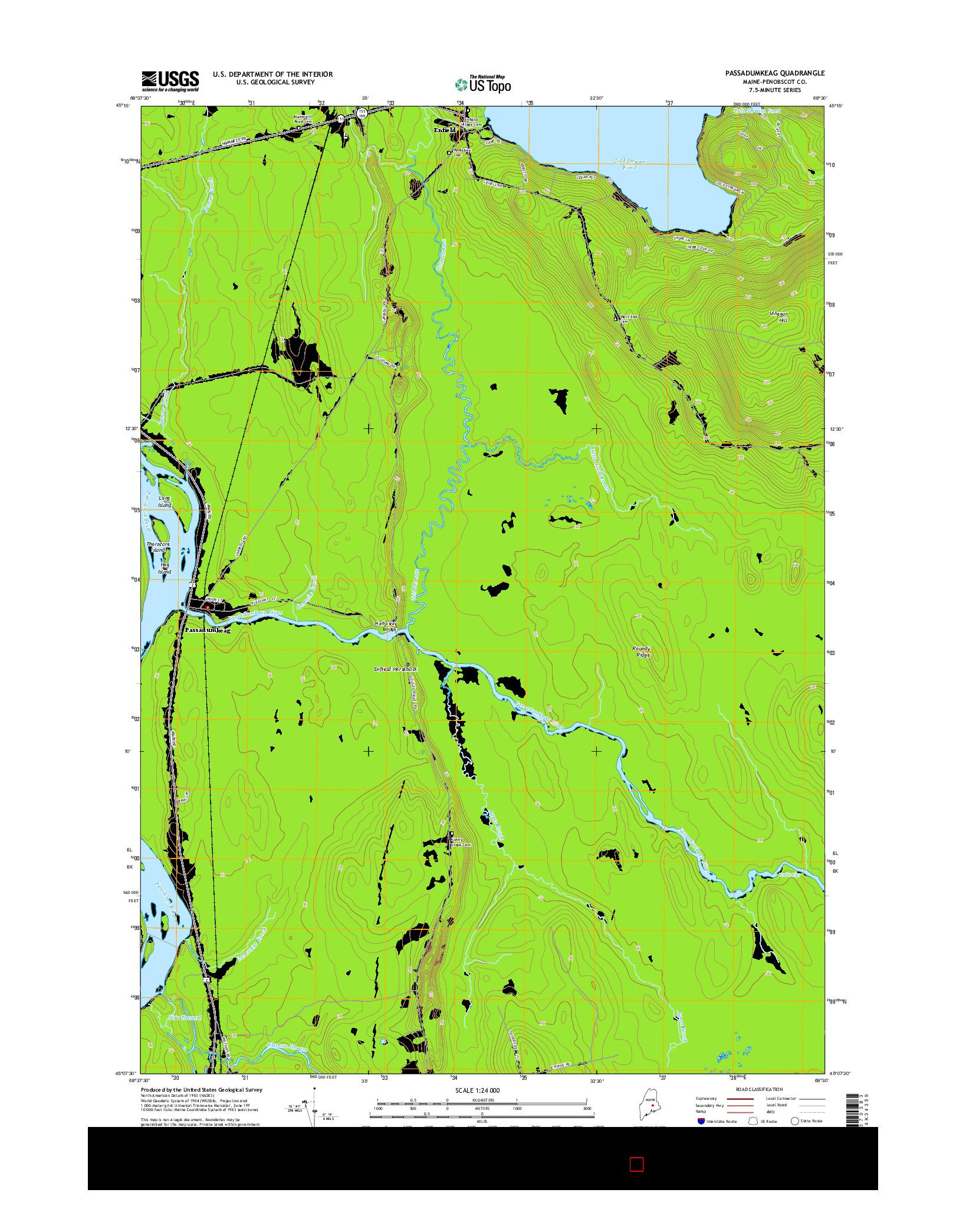 USGS US TOPO 7.5-MINUTE MAP FOR PASSADUMKEAG, ME 2014