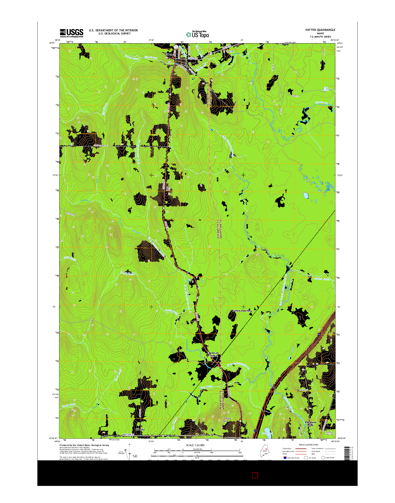 USGS US TOPO 7.5-MINUTE MAP FOR PATTEN, ME 2014