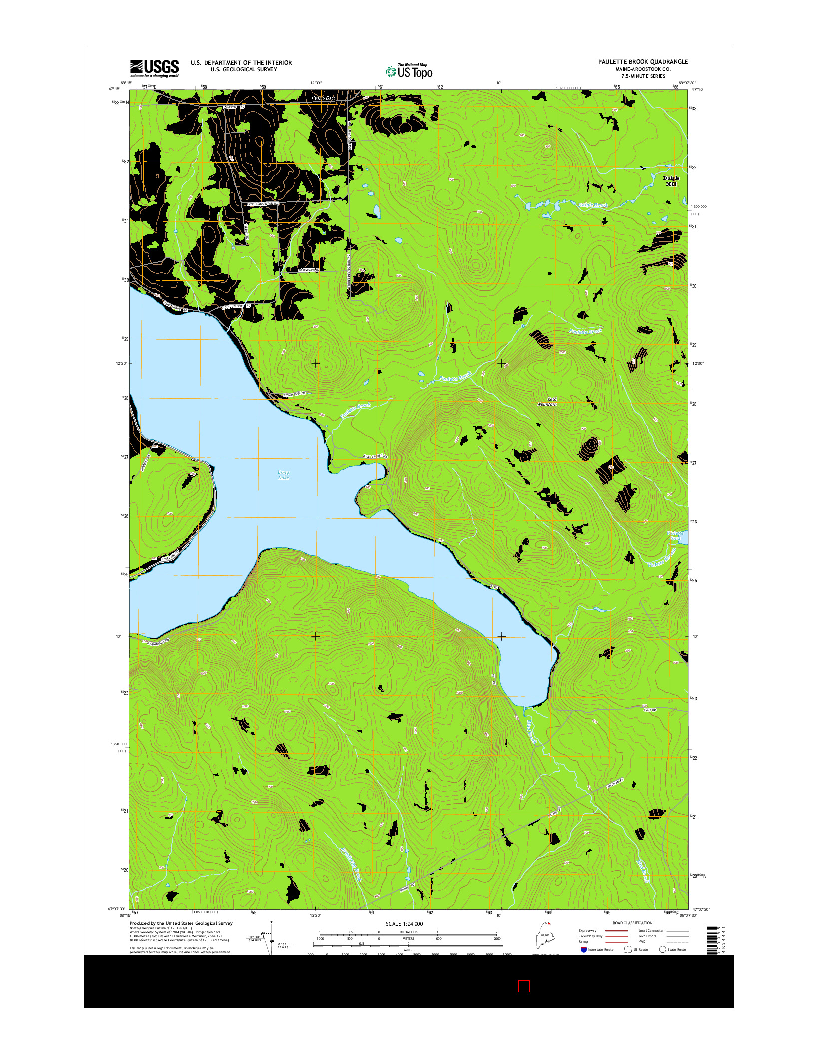 USGS US TOPO 7.5-MINUTE MAP FOR PAULETTE BROOK, ME 2014