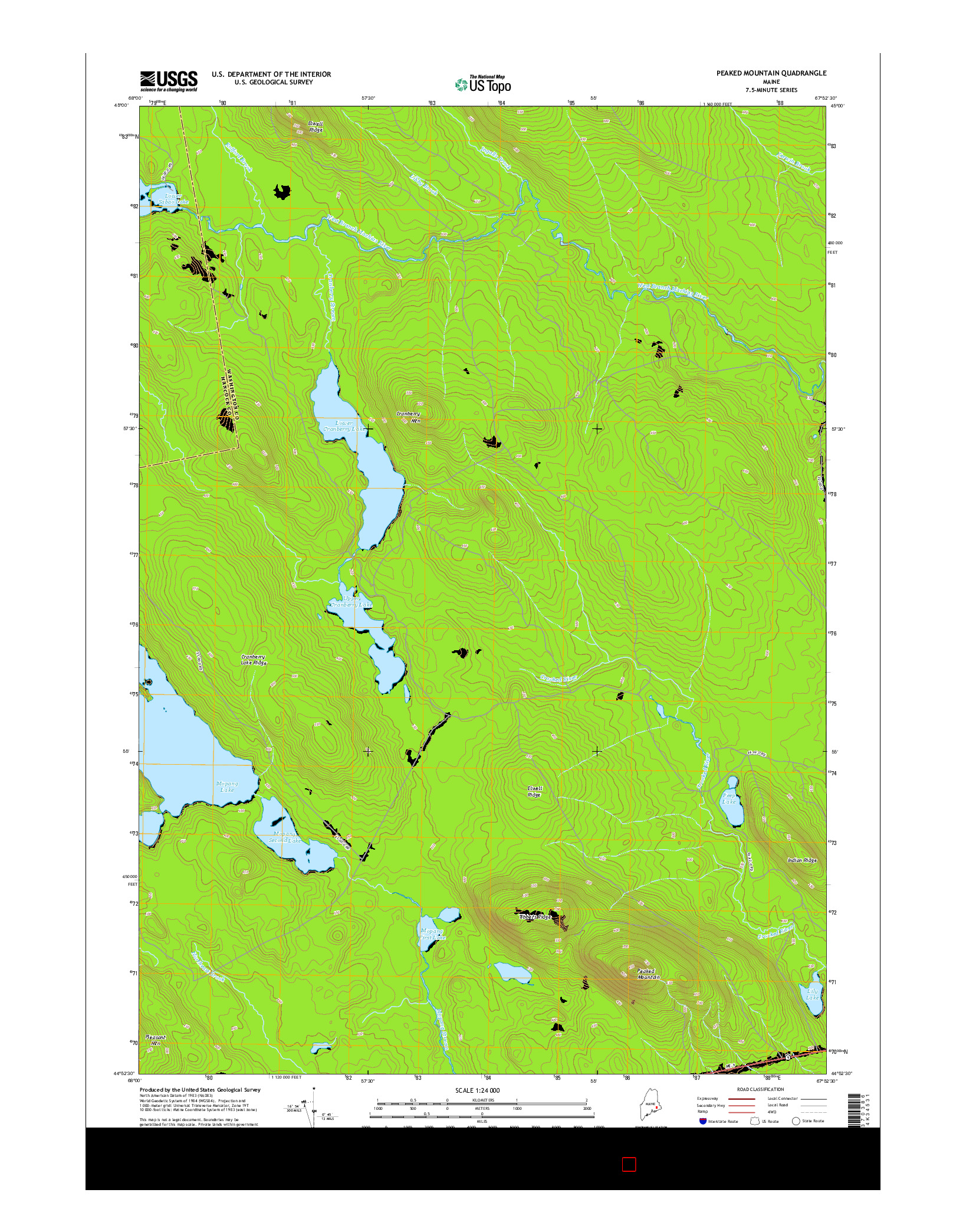 USGS US TOPO 7.5-MINUTE MAP FOR PEAKED MOUNTAIN, ME 2014