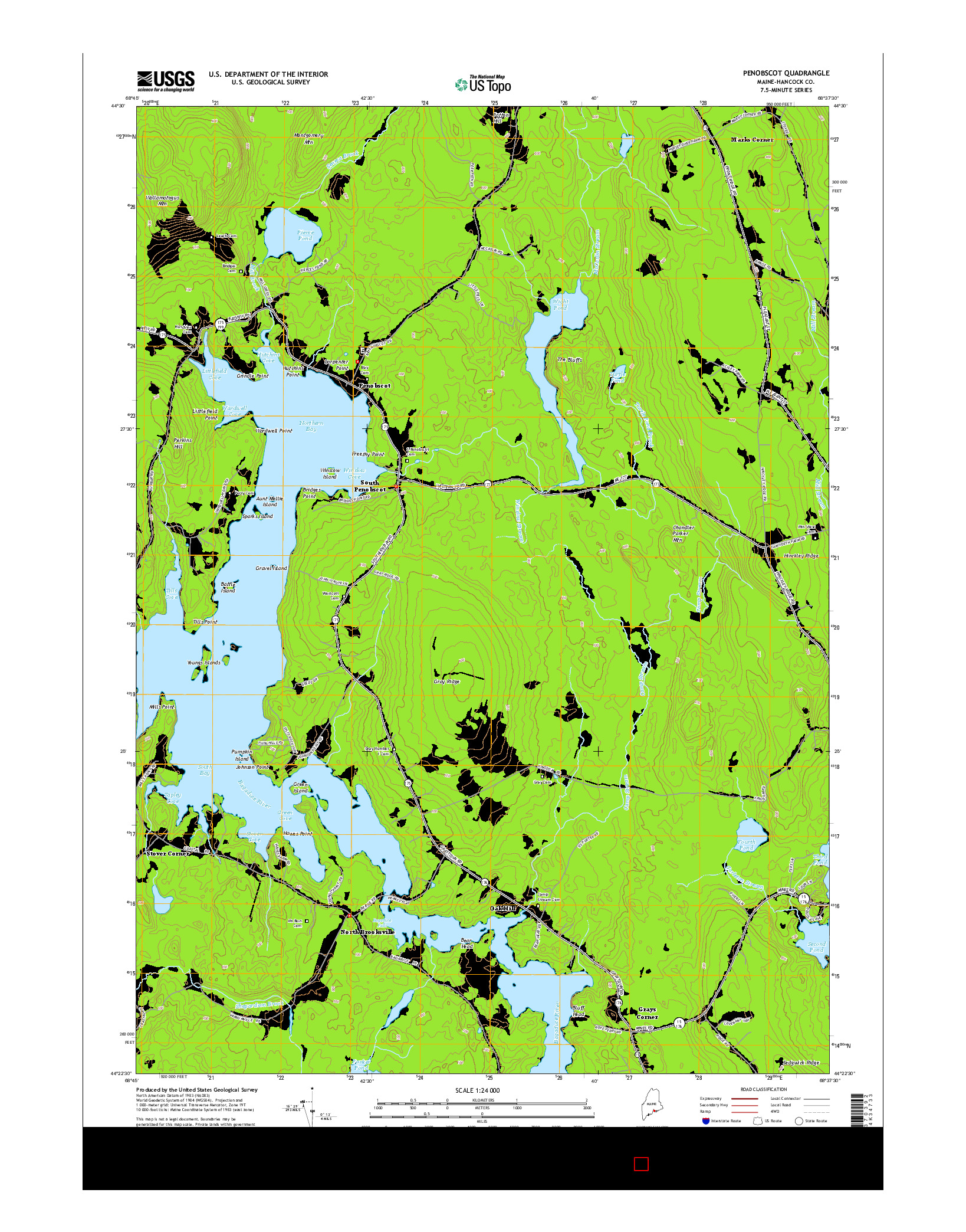 USGS US TOPO 7.5-MINUTE MAP FOR PENOBSCOT, ME 2014