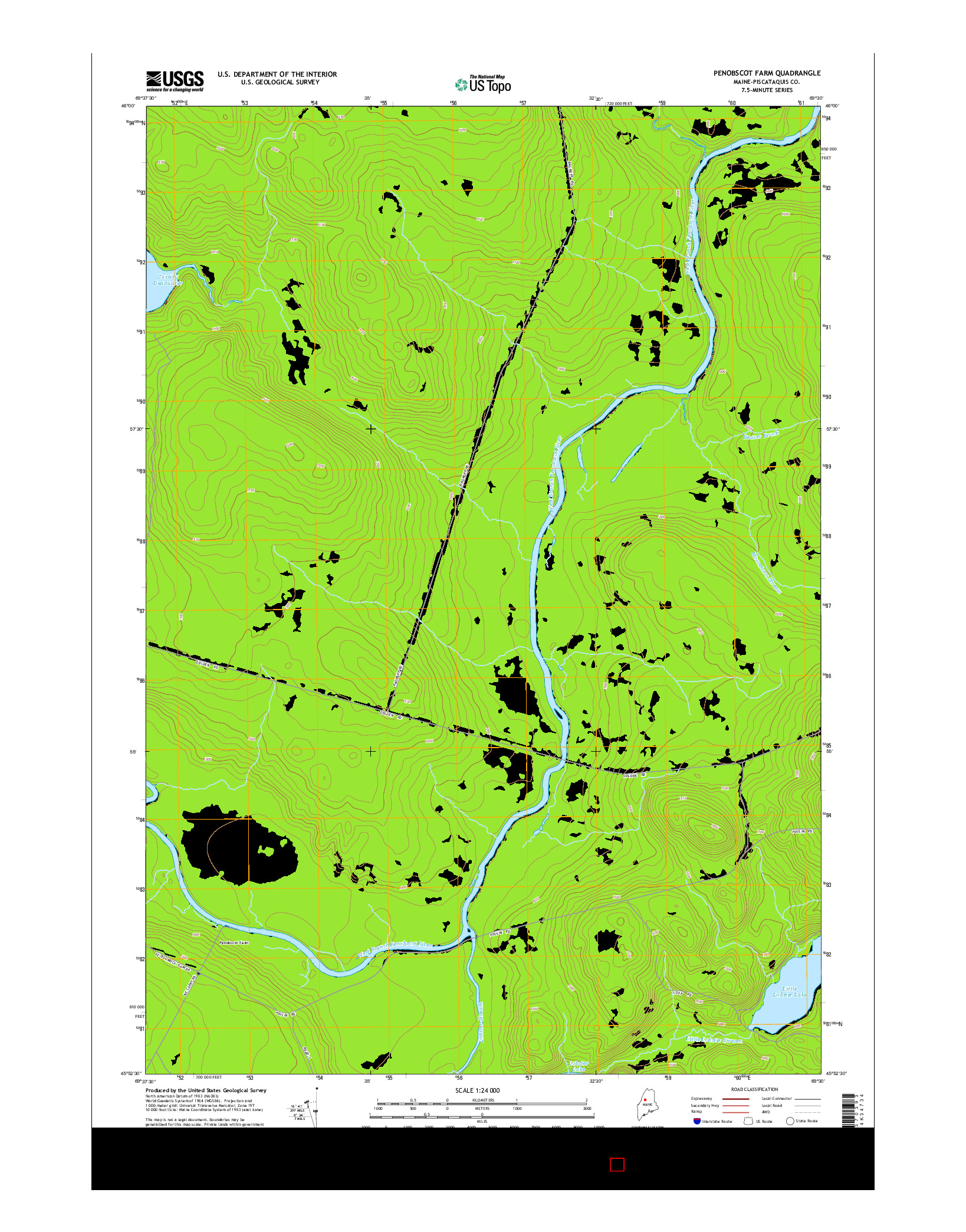 USGS US TOPO 7.5-MINUTE MAP FOR PENOBSCOT FARM, ME 2014