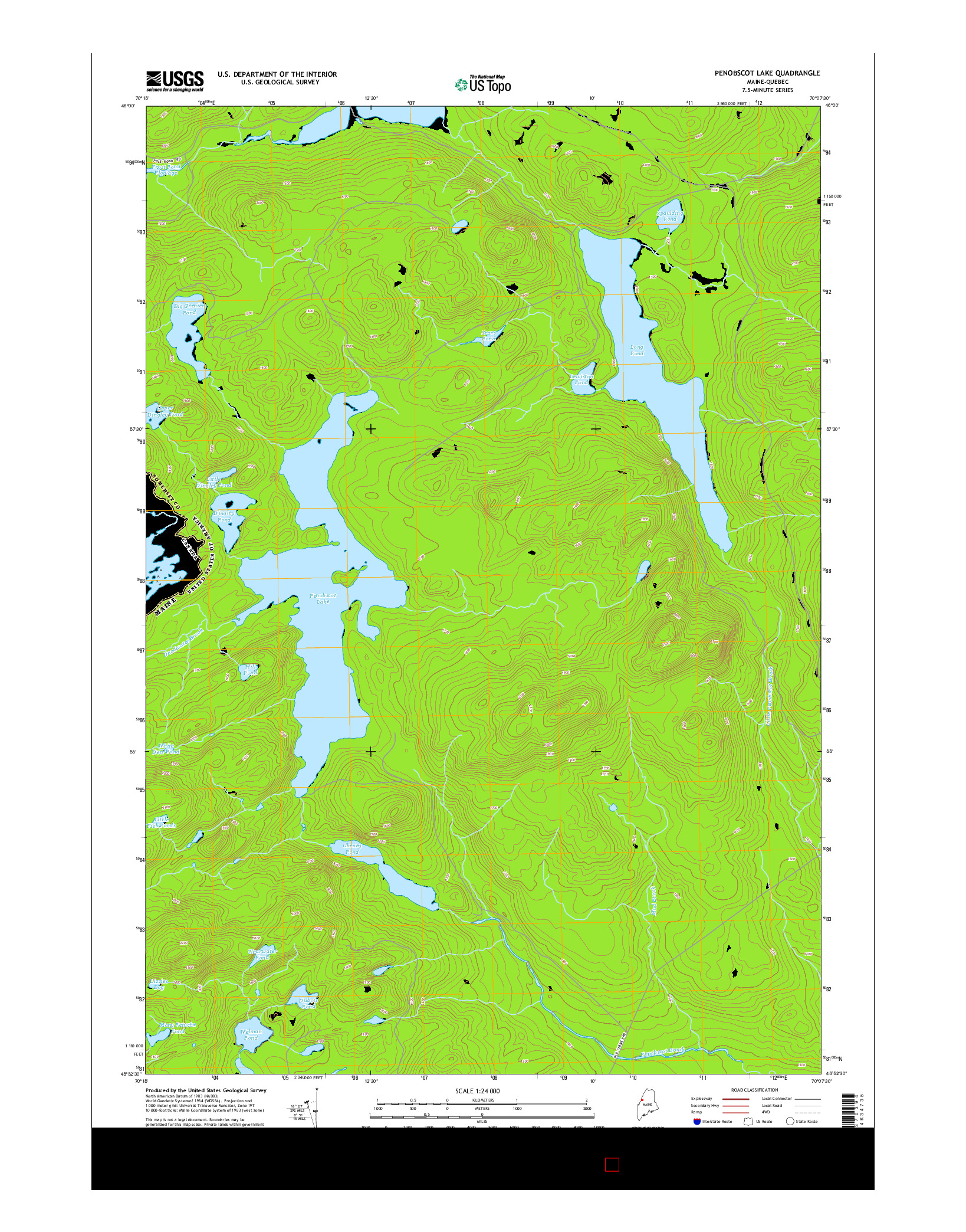 USGS US TOPO 7.5-MINUTE MAP FOR PENOBSCOT LAKE, ME-QC 2014