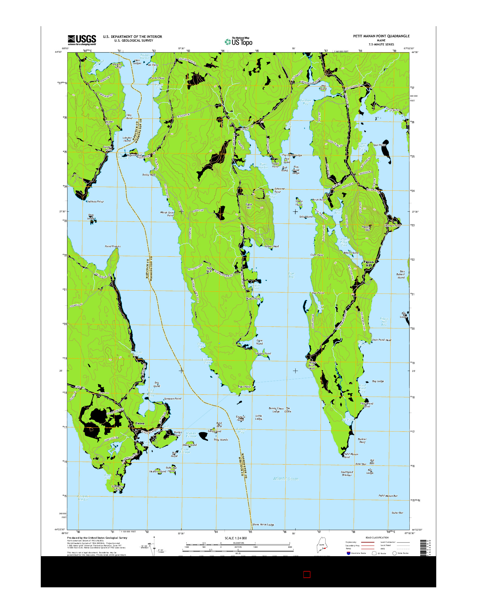 USGS US TOPO 7.5-MINUTE MAP FOR PETIT MANAN POINT, ME 2014