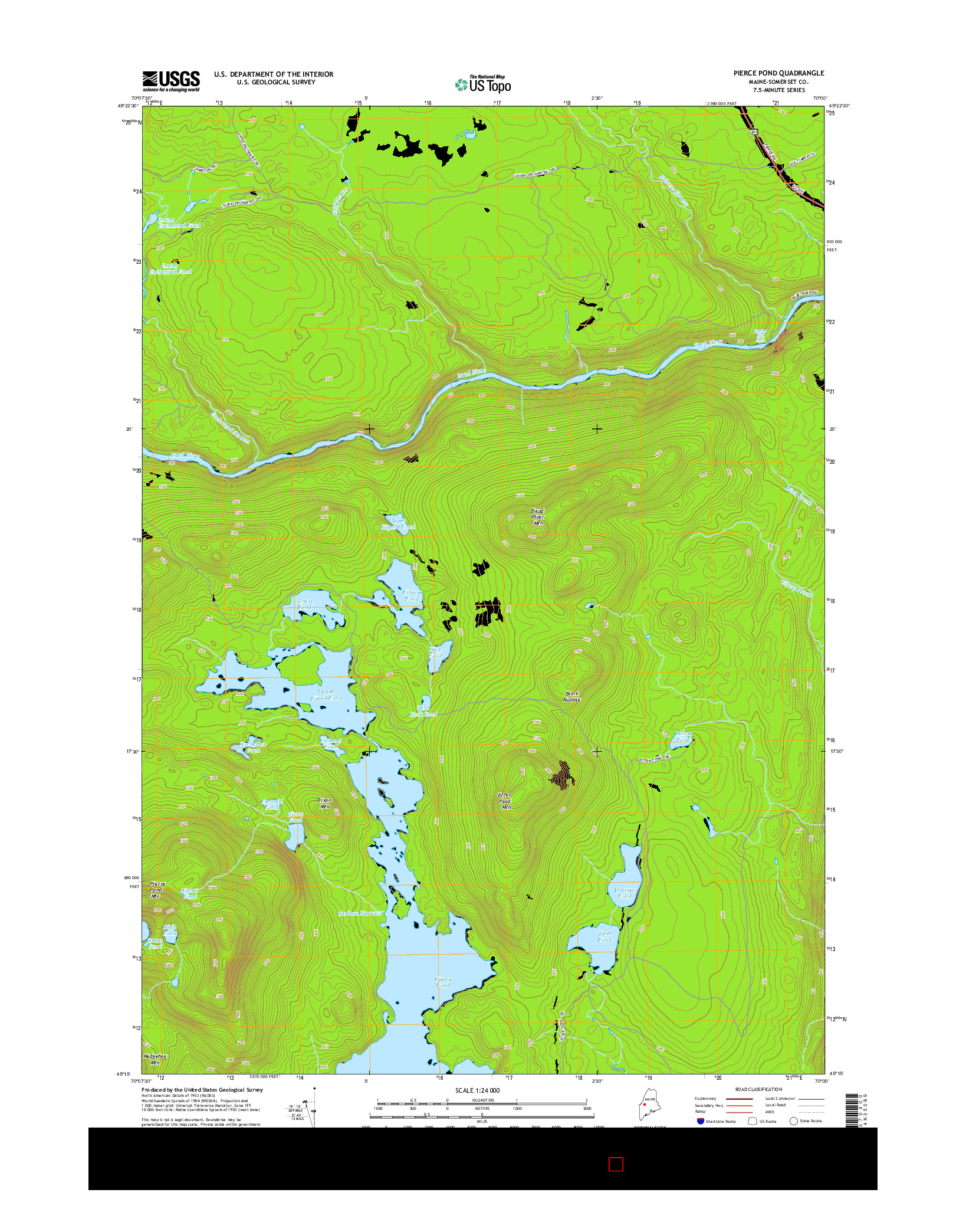 USGS US TOPO 7.5-MINUTE MAP FOR PIERCE POND, ME 2014