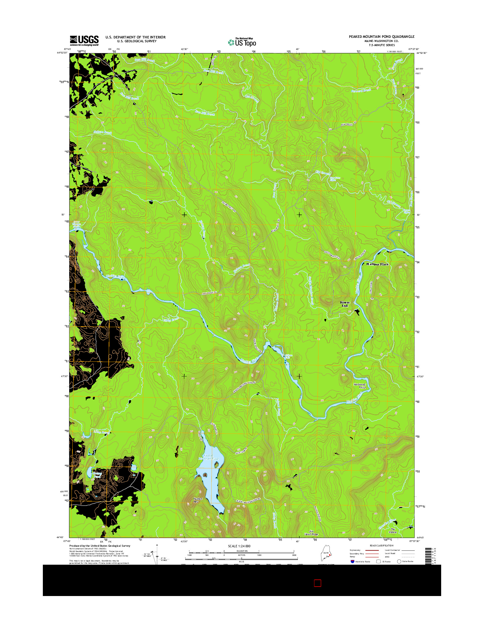 USGS US TOPO 7.5-MINUTE MAP FOR PEAKED MOUNTAIN POND, ME 2014