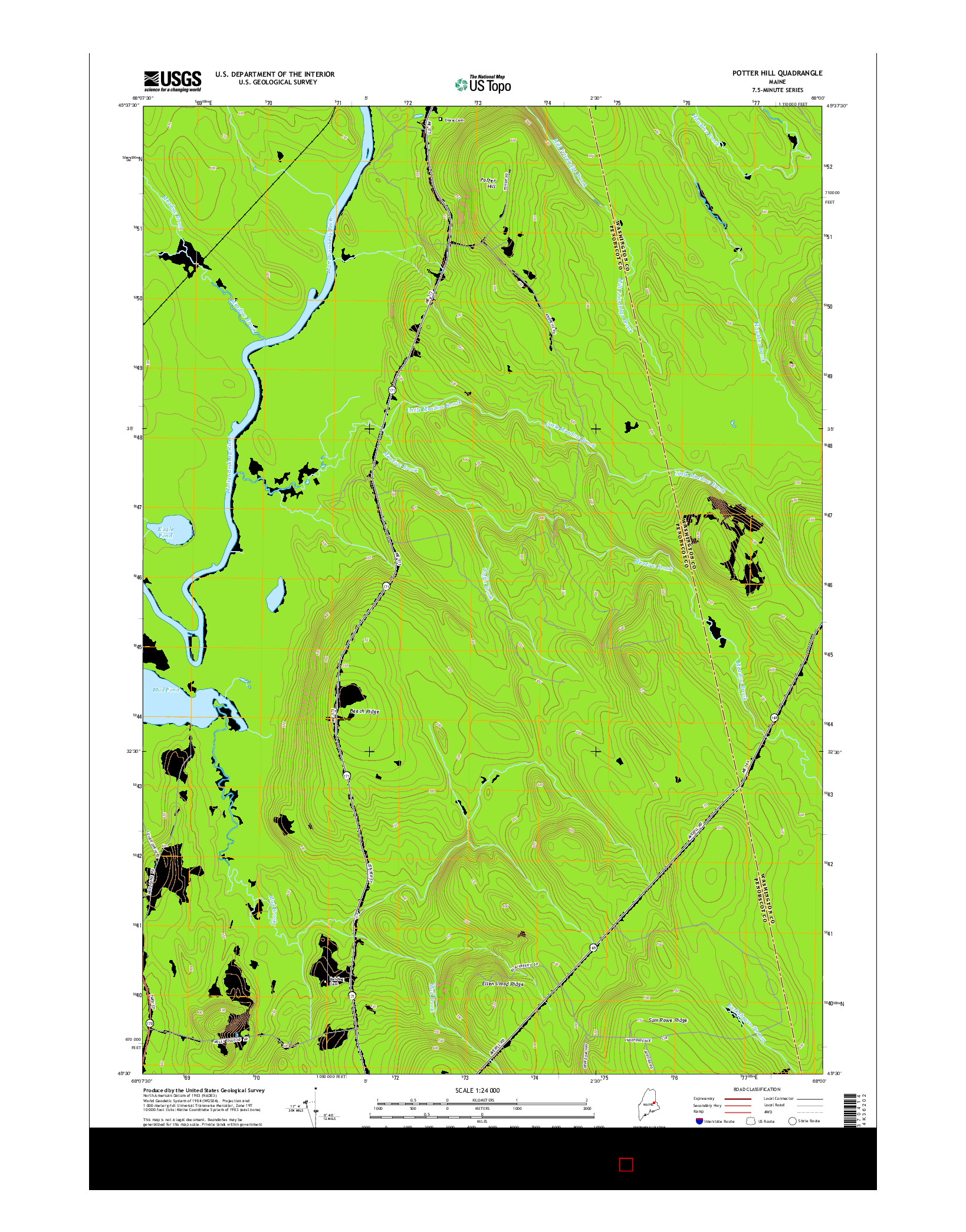 USGS US TOPO 7.5-MINUTE MAP FOR POTTER HILL, ME 2014