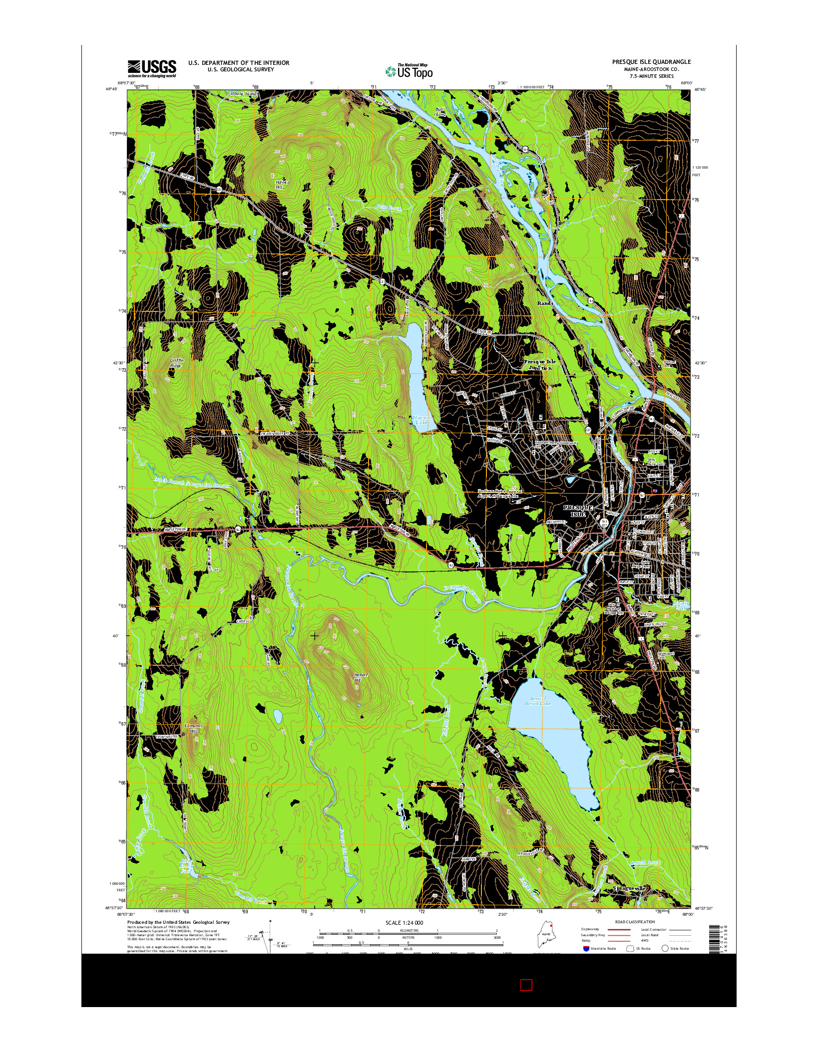 USGS US TOPO 7.5-MINUTE MAP FOR PRESQUE ISLE, ME 2014