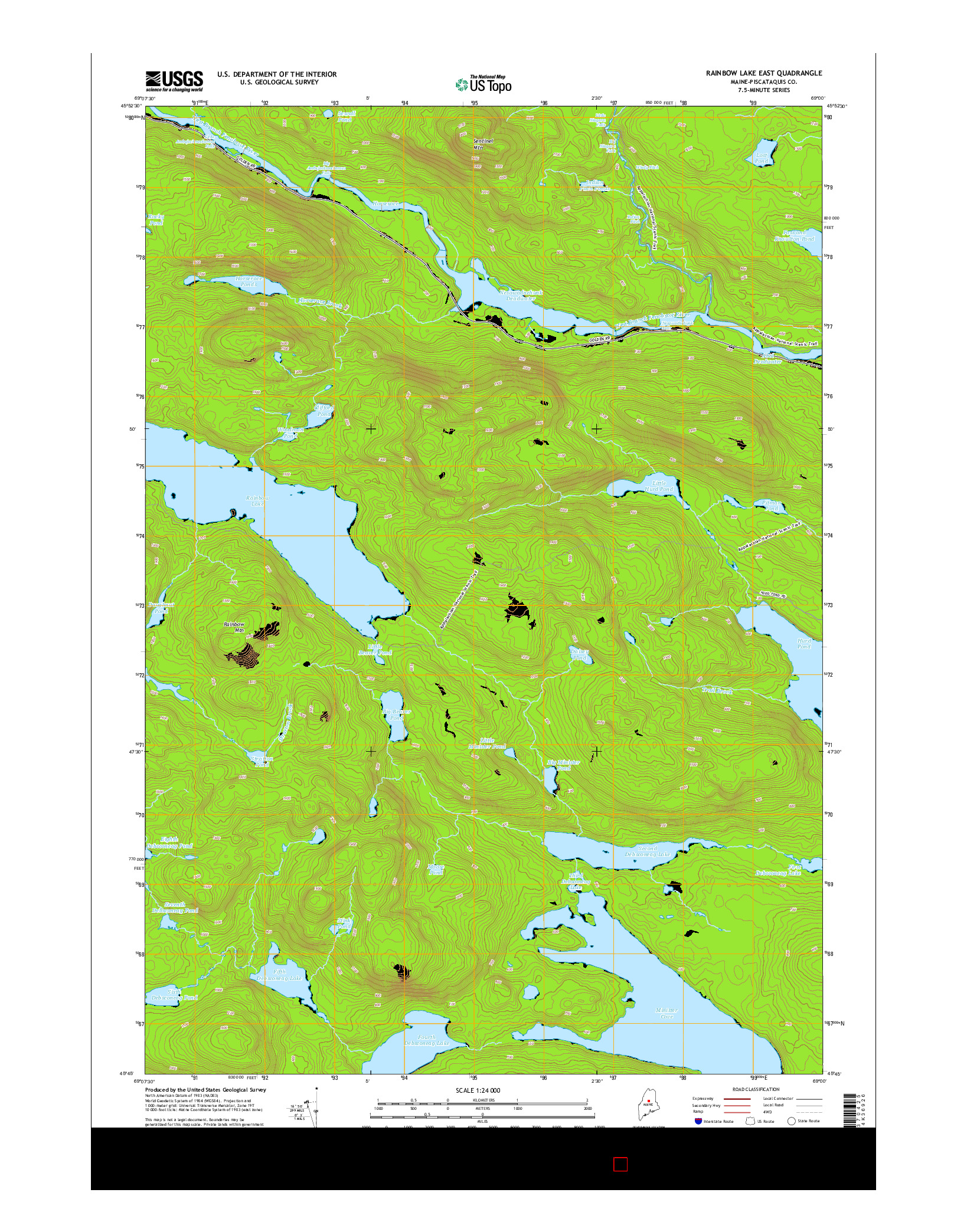 USGS US TOPO 7.5-MINUTE MAP FOR RAINBOW LAKE EAST, ME 2014