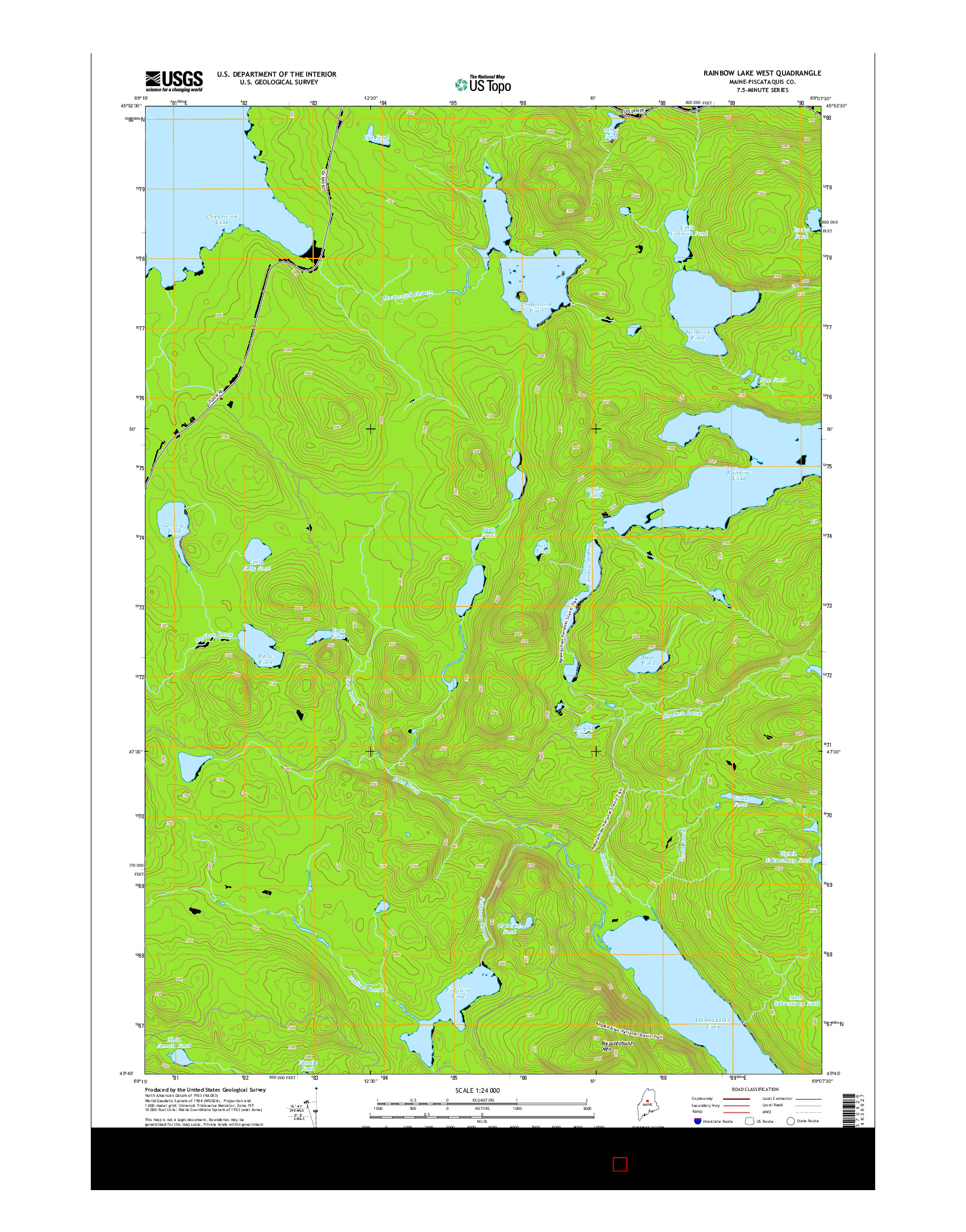 USGS US TOPO 7.5-MINUTE MAP FOR RAINBOW LAKE WEST, ME 2014