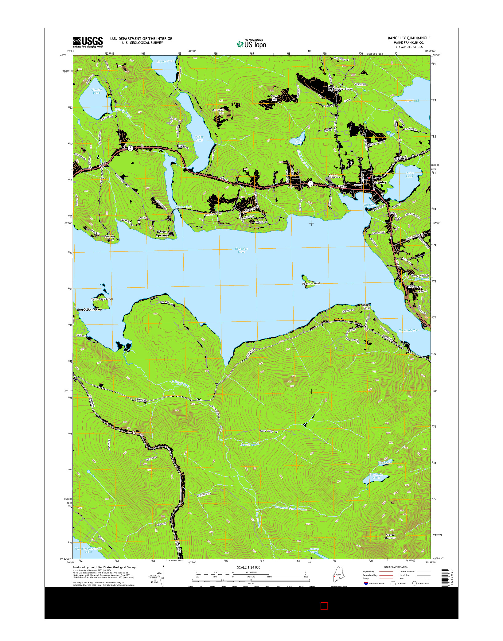 USGS US TOPO 7.5-MINUTE MAP FOR RANGELEY, ME 2014