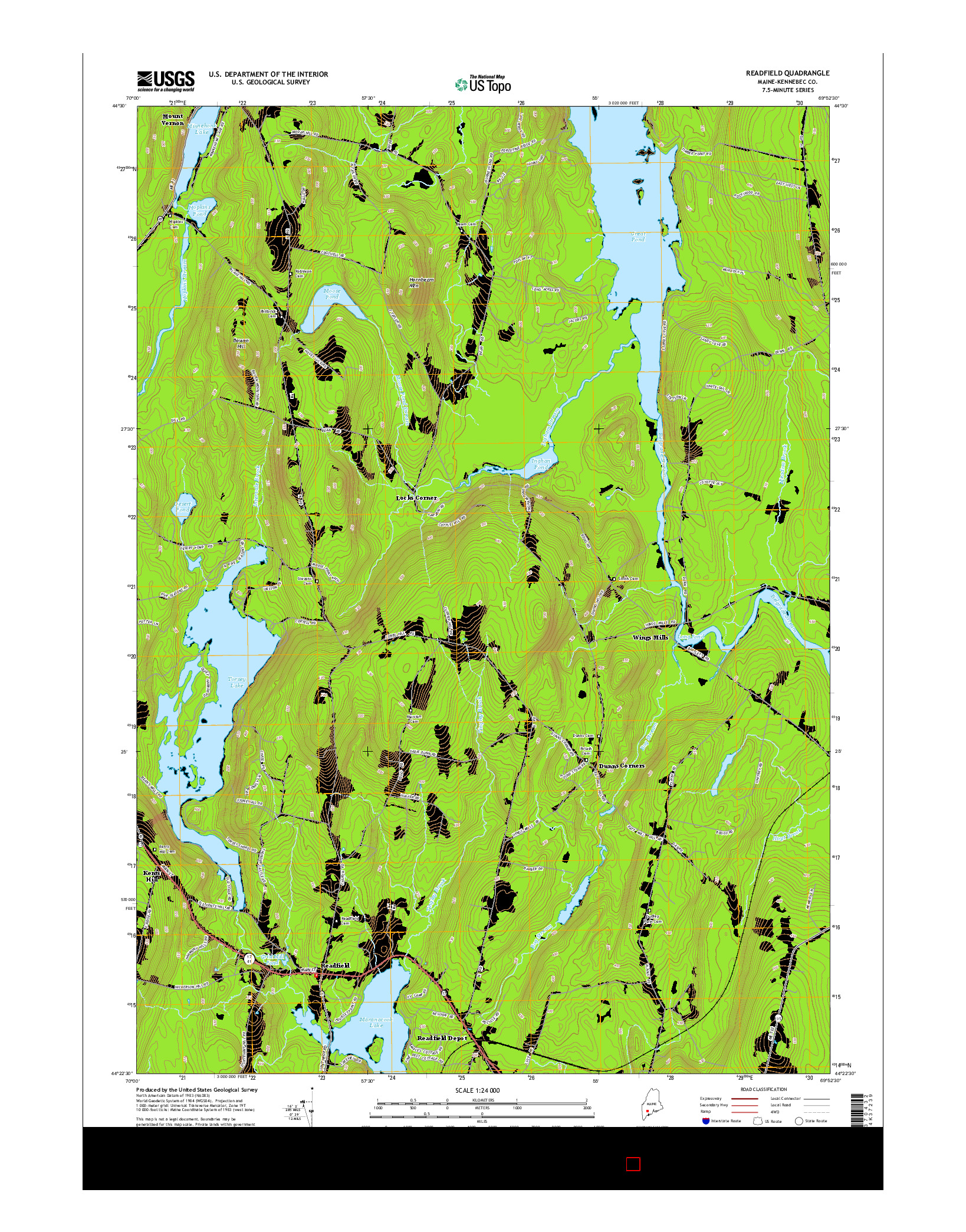 USGS US TOPO 7.5-MINUTE MAP FOR READFIELD, ME 2014