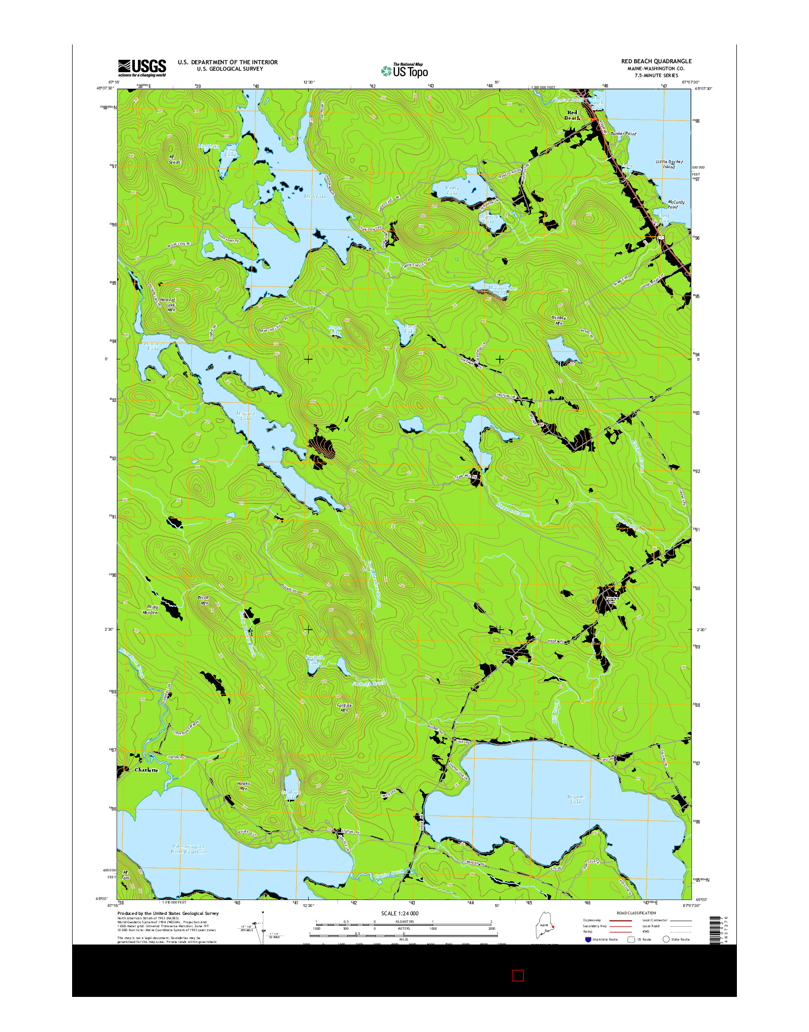 USGS US TOPO 7.5-MINUTE MAP FOR RED BEACH, ME 2014