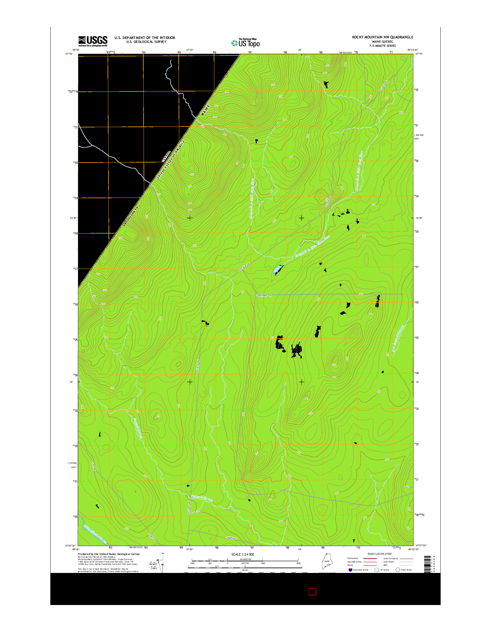 USGS US TOPO 7.5-MINUTE MAP FOR ROCKY MOUNTAIN NW, ME-QC 2014