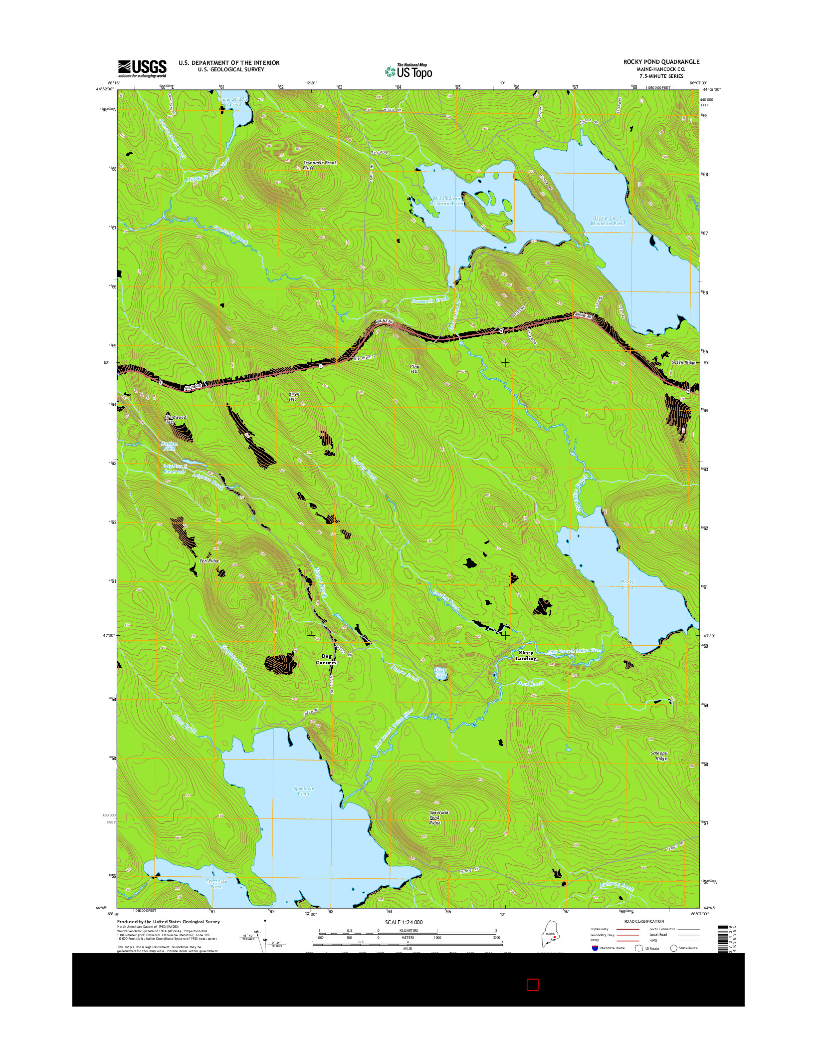 USGS US TOPO 7.5-MINUTE MAP FOR ROCKY POND, ME 2014
