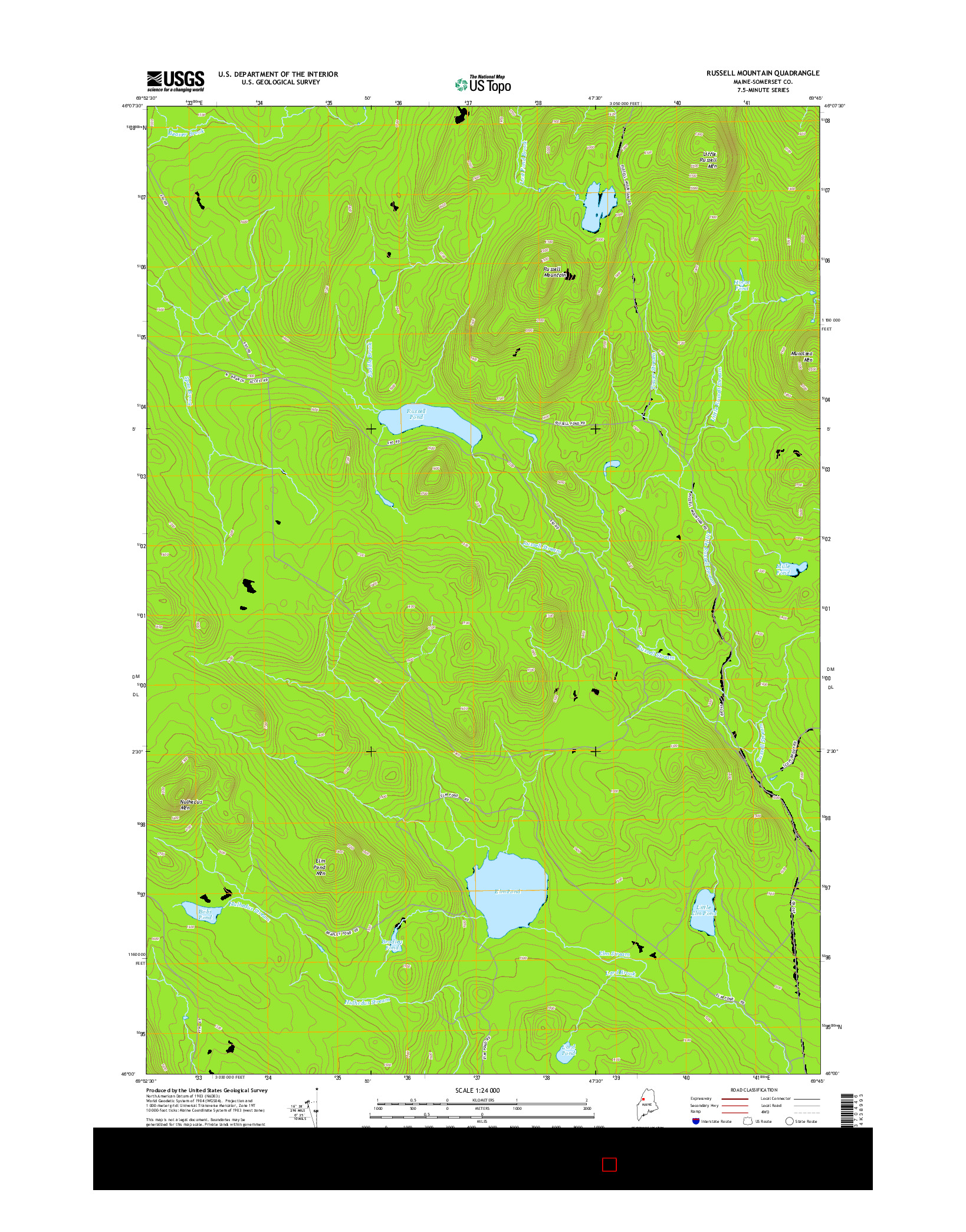 USGS US TOPO 7.5-MINUTE MAP FOR RUSSELL MOUNTAIN, ME 2014
