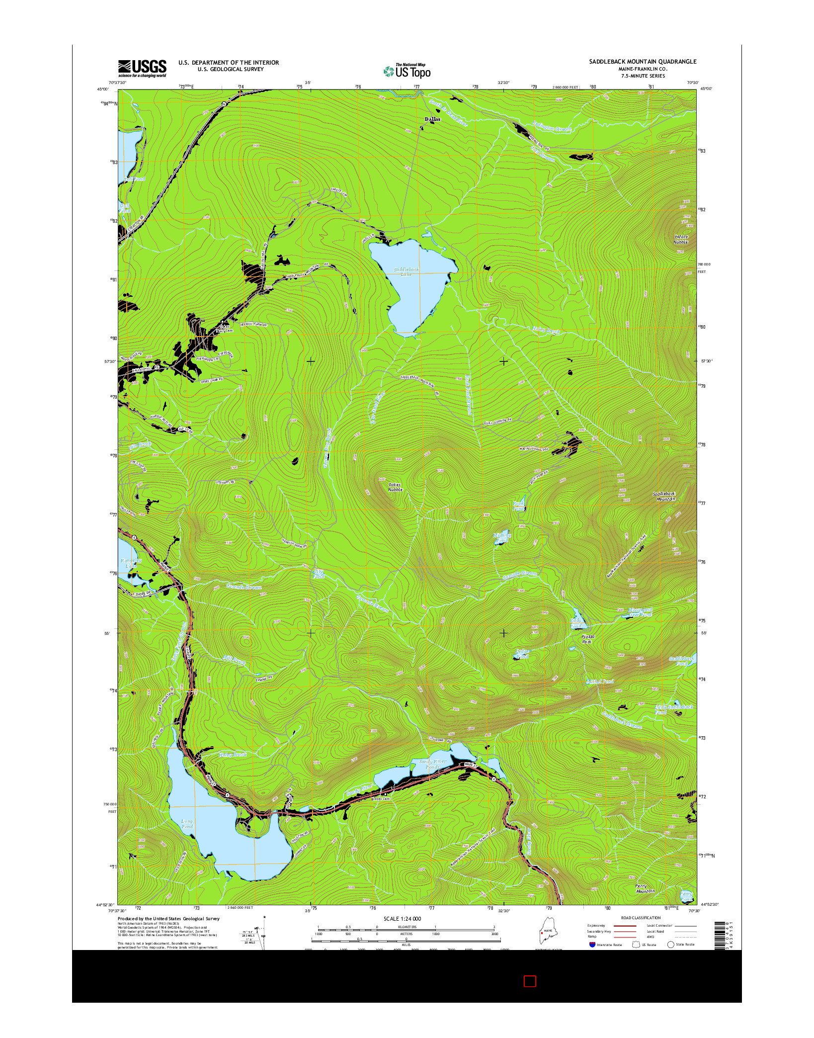 USGS US TOPO 7.5-MINUTE MAP FOR SADDLEBACK MOUNTAIN, ME 2014
