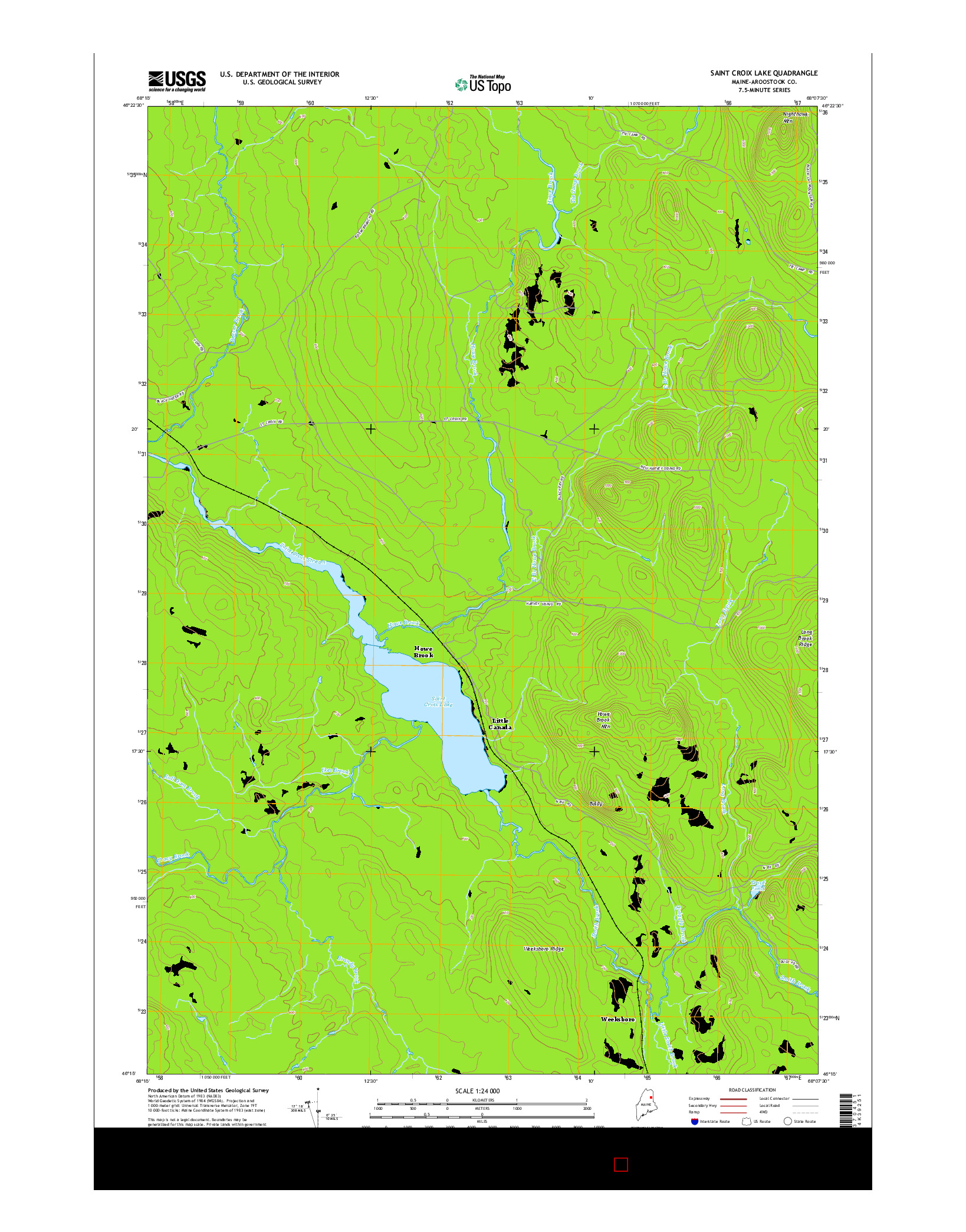 USGS US TOPO 7.5-MINUTE MAP FOR SAINT CROIX LAKE, ME 2014