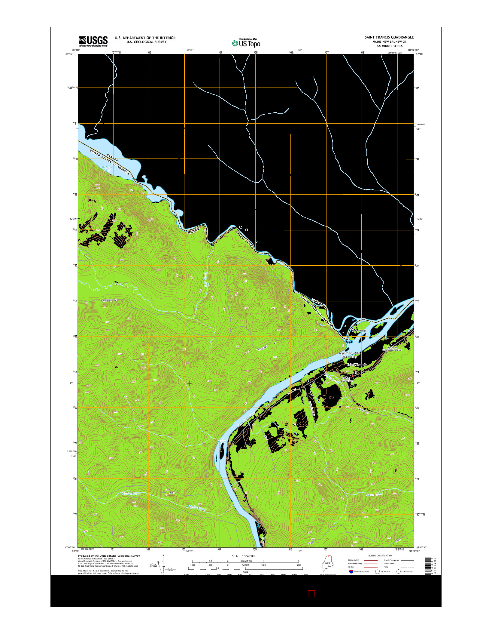 USGS US TOPO 7.5-MINUTE MAP FOR SAINT FRANCIS, ME-NB 2014