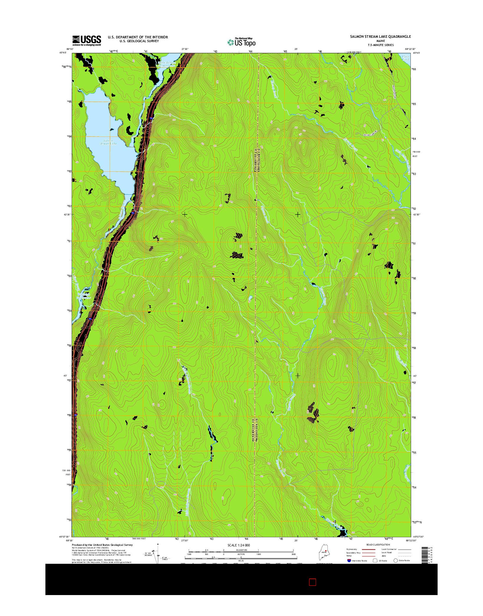 USGS US TOPO 7.5-MINUTE MAP FOR SALMON STREAM LAKE, ME 2014