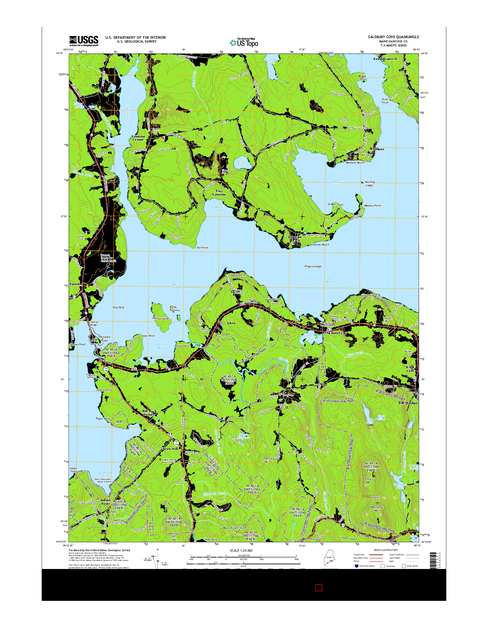 USGS US TOPO 7.5-MINUTE MAP FOR SALSBURY COVE, ME 2014