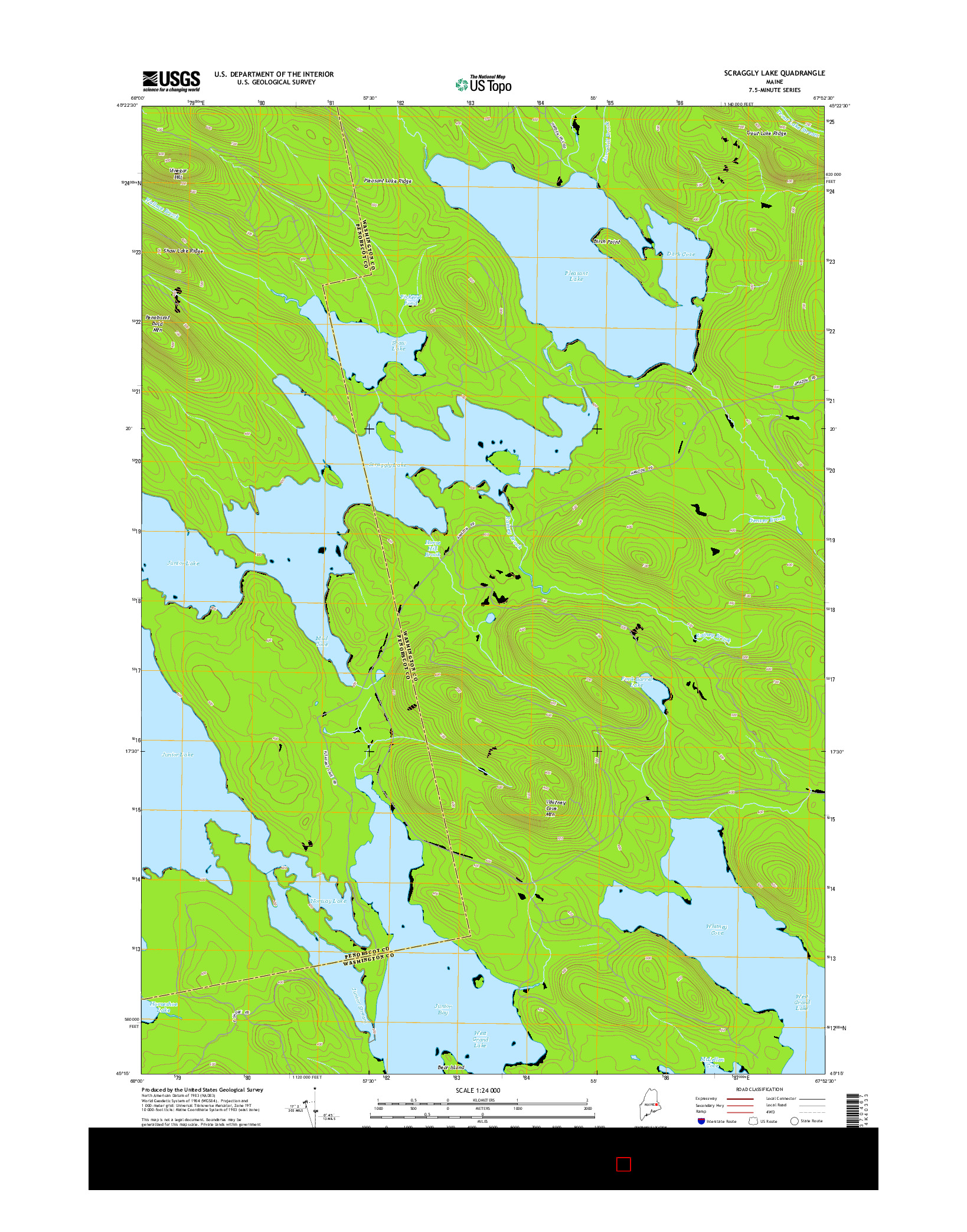 USGS US TOPO 7.5-MINUTE MAP FOR SCRAGGLY LAKE, ME 2014