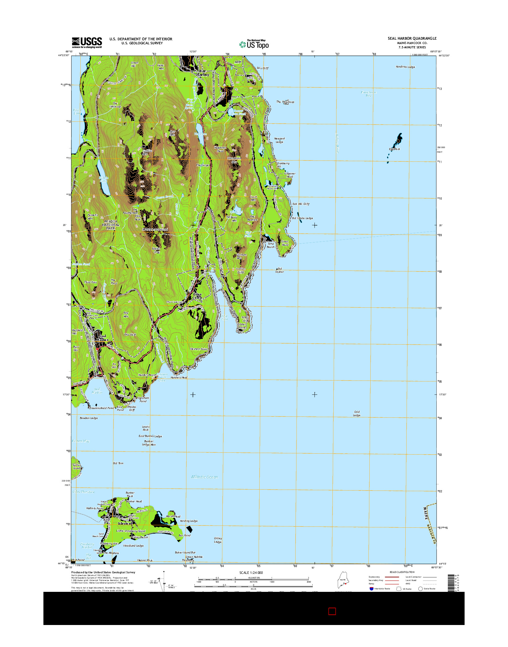 USGS US TOPO 7.5-MINUTE MAP FOR SEAL HARBOR, ME 2014