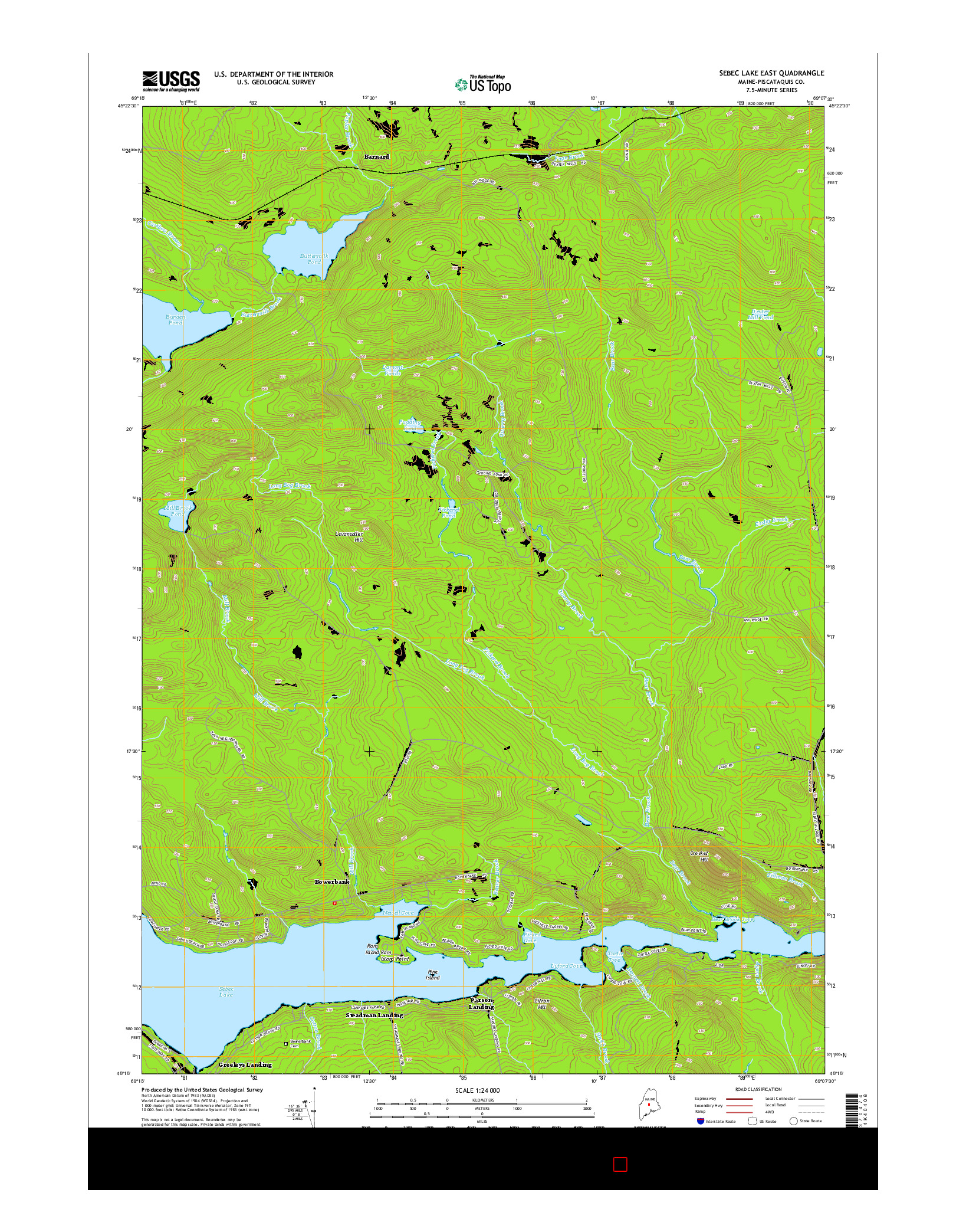 USGS US TOPO 7.5-MINUTE MAP FOR SEBEC LAKE EAST, ME 2014