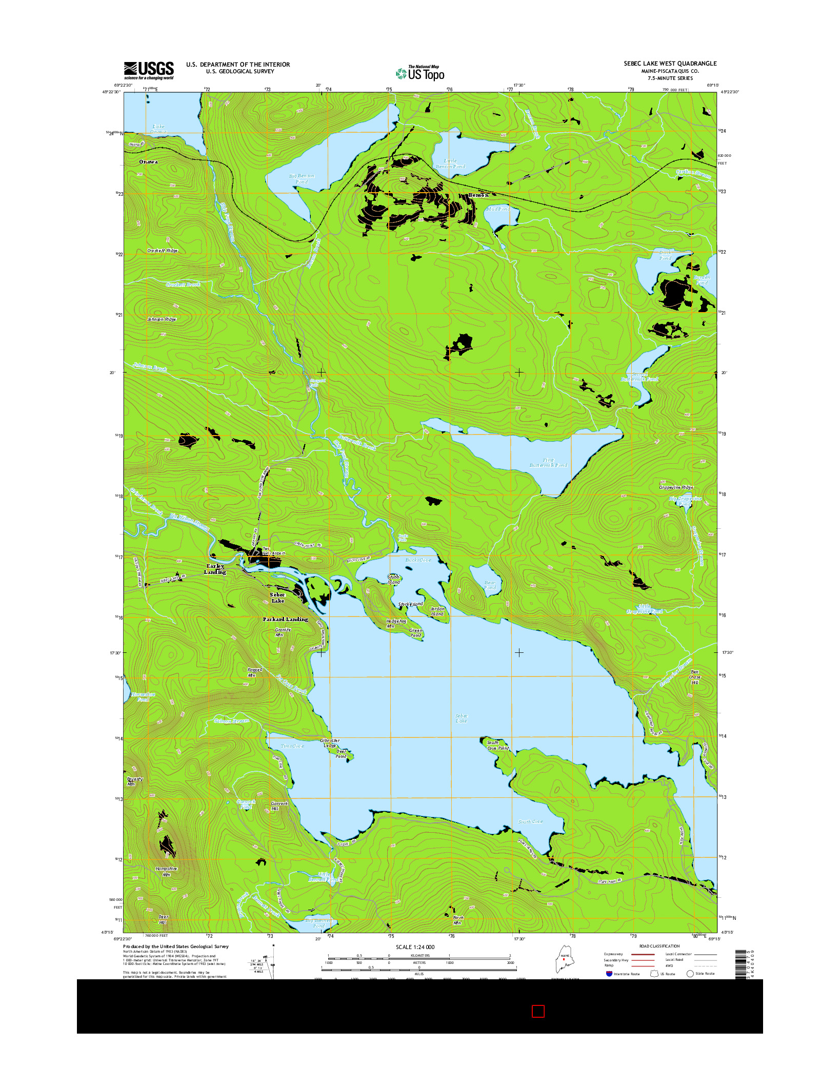 USGS US TOPO 7.5-MINUTE MAP FOR SEBEC LAKE WEST, ME 2014