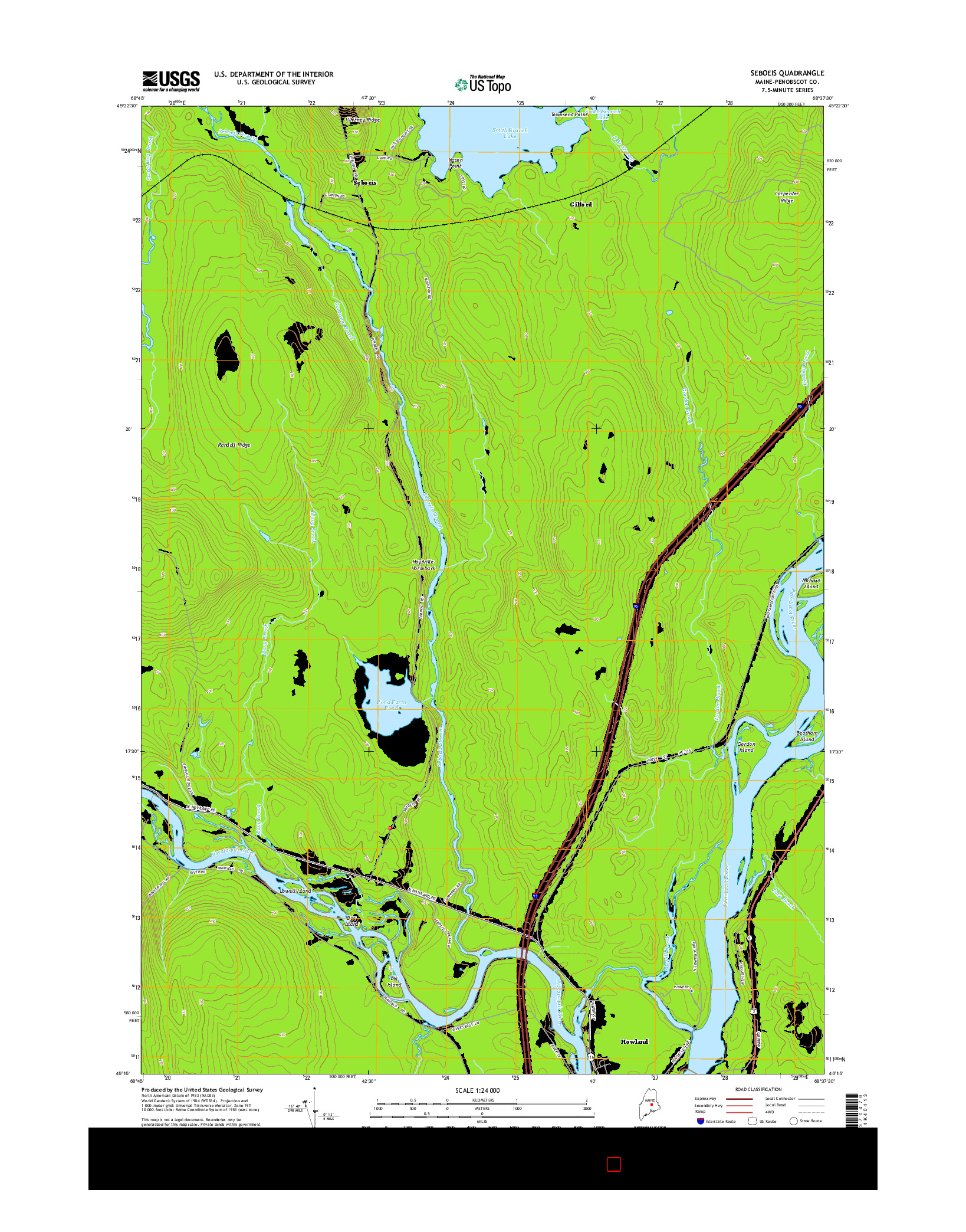 USGS US TOPO 7.5-MINUTE MAP FOR SEBOEIS, ME 2014