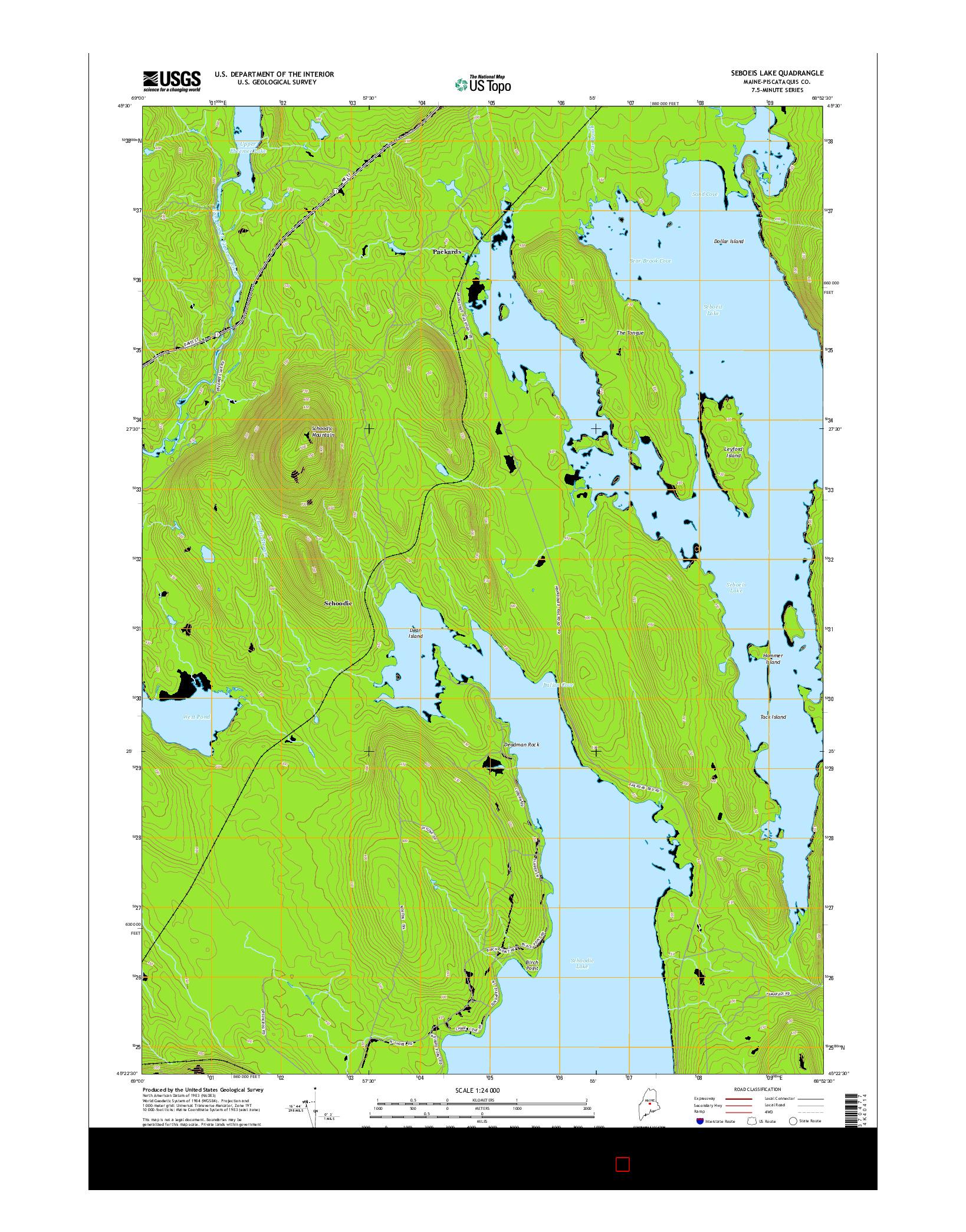 USGS US TOPO 7.5-MINUTE MAP FOR SEBOEIS LAKE, ME 2014