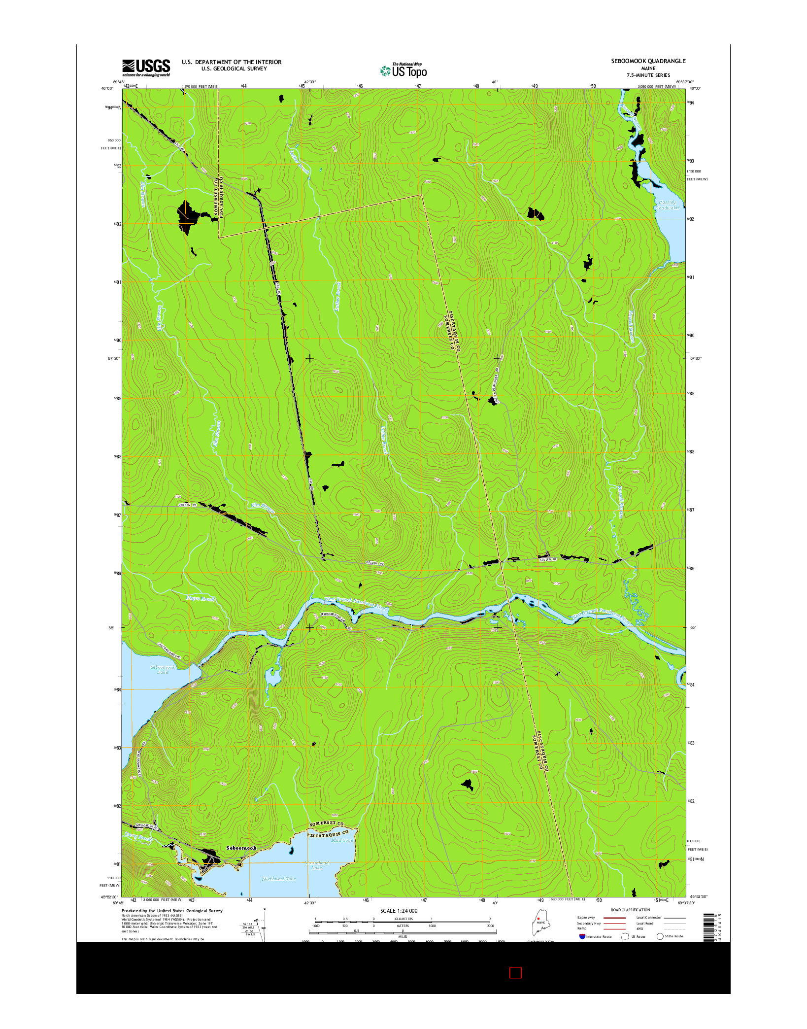USGS US TOPO 7.5-MINUTE MAP FOR SEBOOMOOK, ME 2014