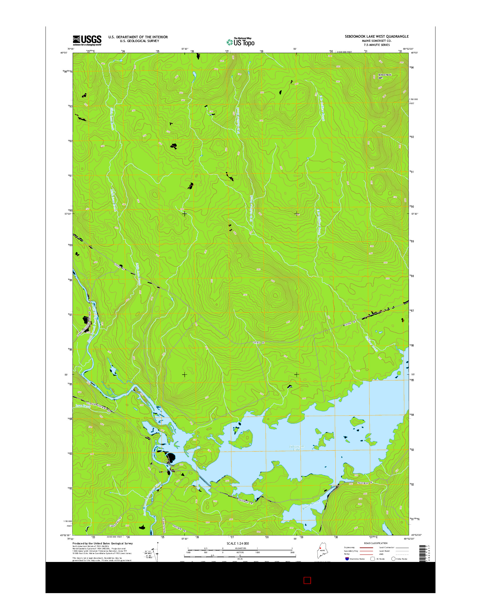 USGS US TOPO 7.5-MINUTE MAP FOR SEBOOMOOK LAKE WEST, ME 2014
