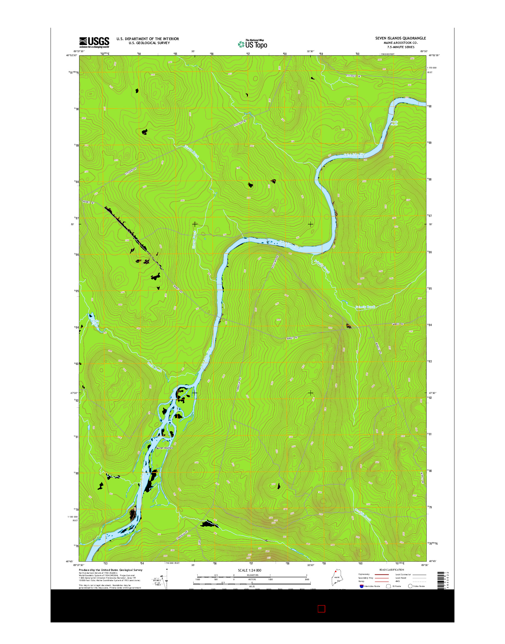 USGS US TOPO 7.5-MINUTE MAP FOR SEVEN ISLANDS, ME 2014