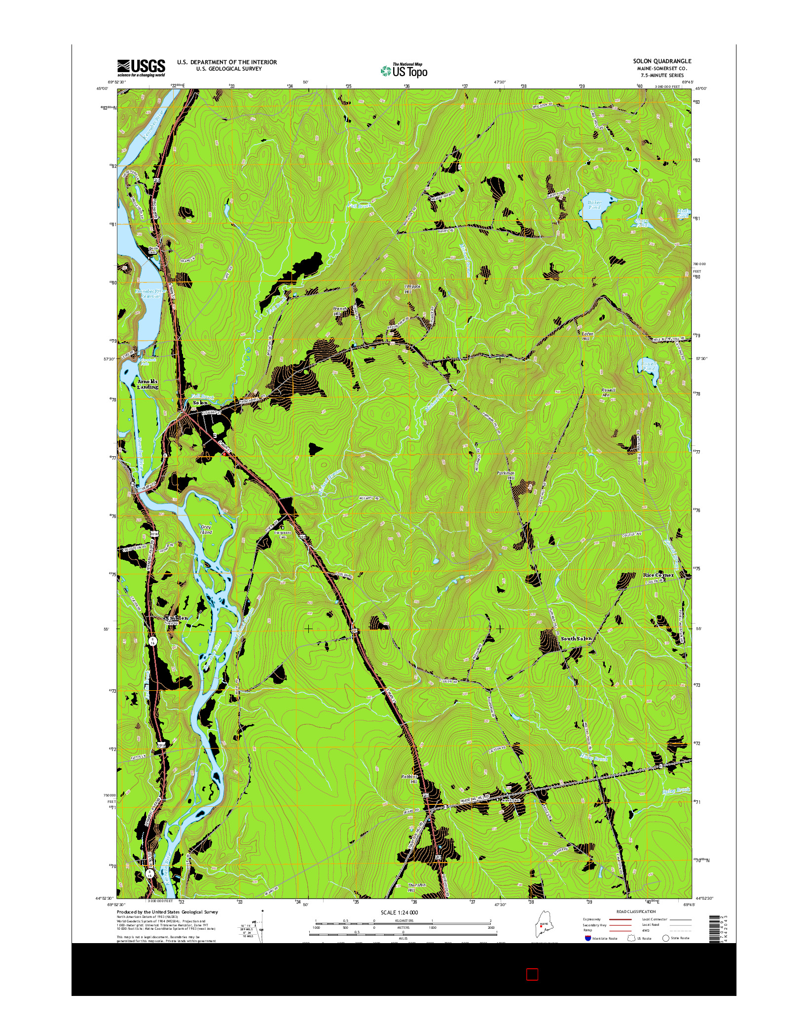 USGS US TOPO 7.5-MINUTE MAP FOR SOLON, ME 2014