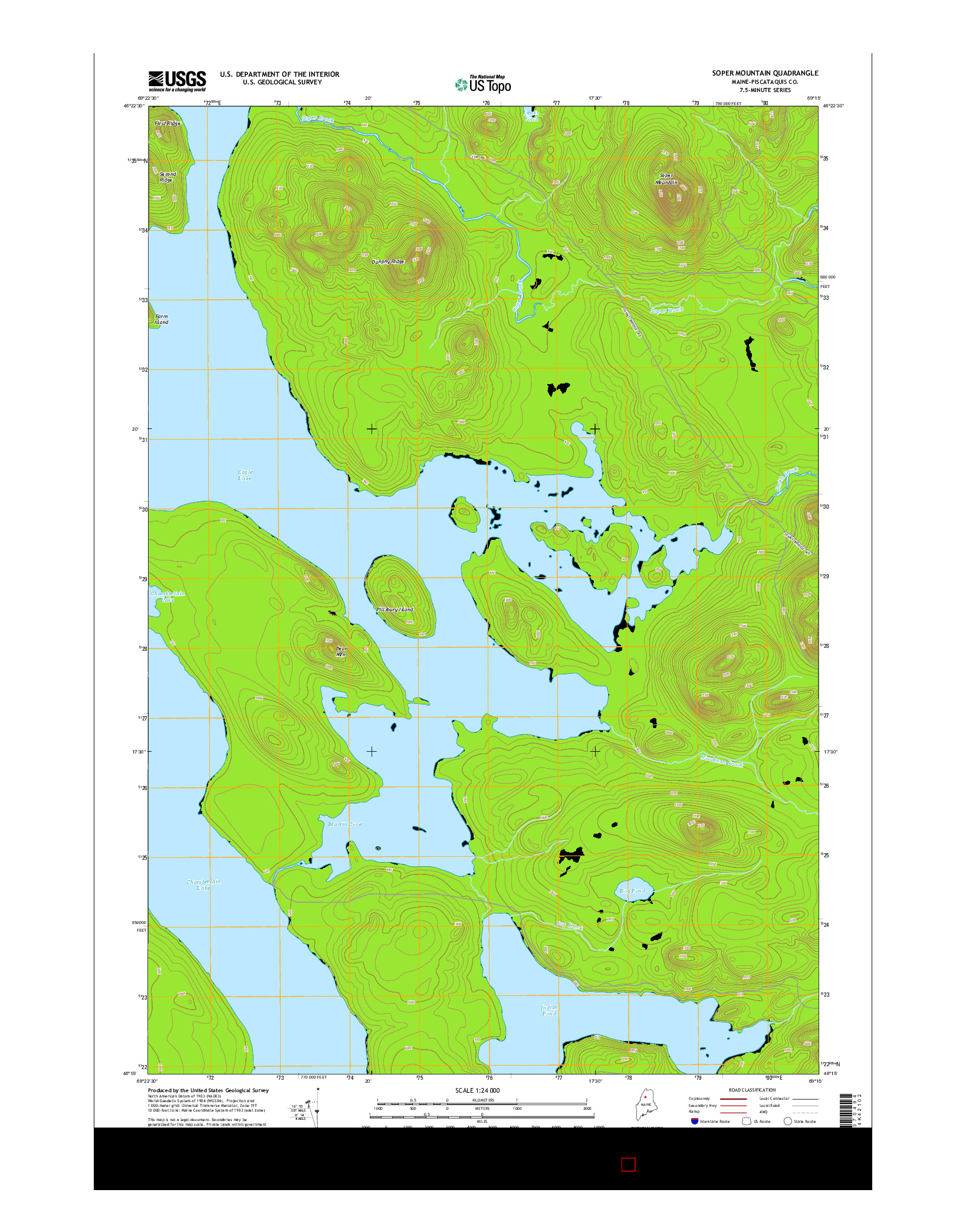 USGS US TOPO 7.5-MINUTE MAP FOR SOPER MOUNTAIN, ME 2014