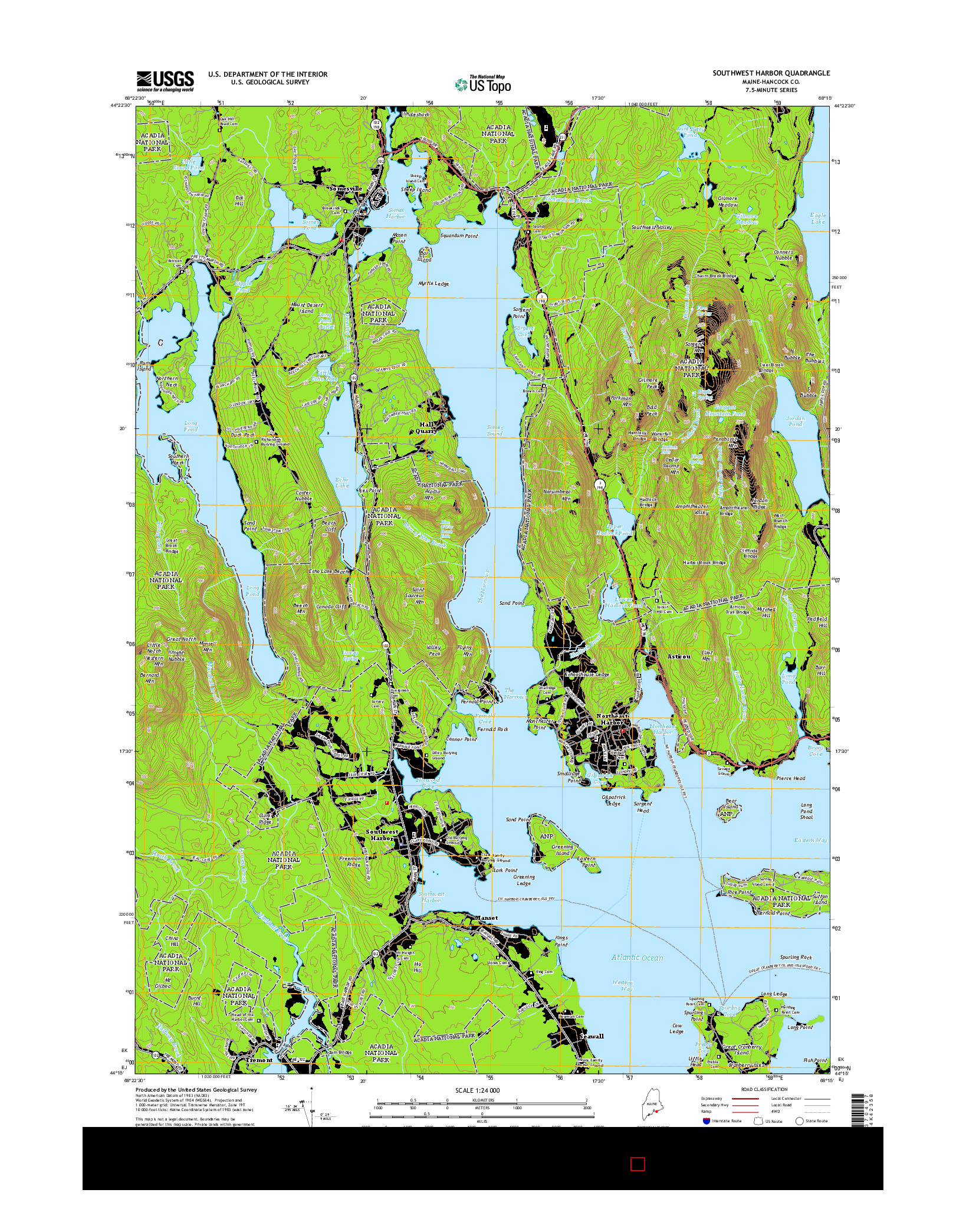 USGS US TOPO 7.5-MINUTE MAP FOR SOUTHWEST HARBOR, ME 2014