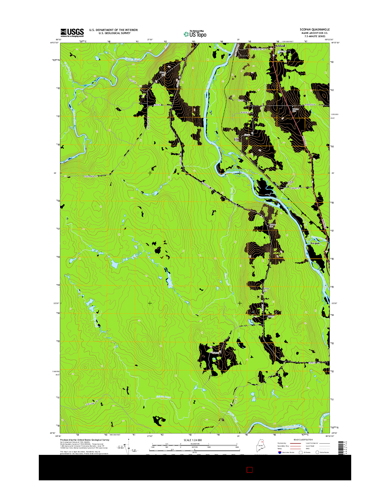 USGS US TOPO 7.5-MINUTE MAP FOR SCOPAN, ME 2014