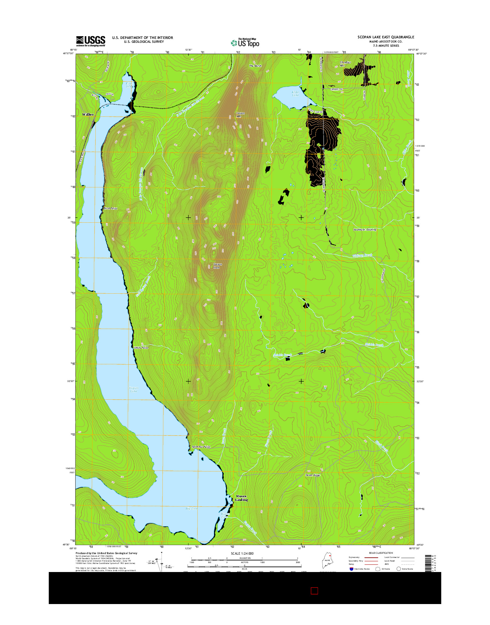 USGS US TOPO 7.5-MINUTE MAP FOR SCOPAN LAKE EAST, ME 2014