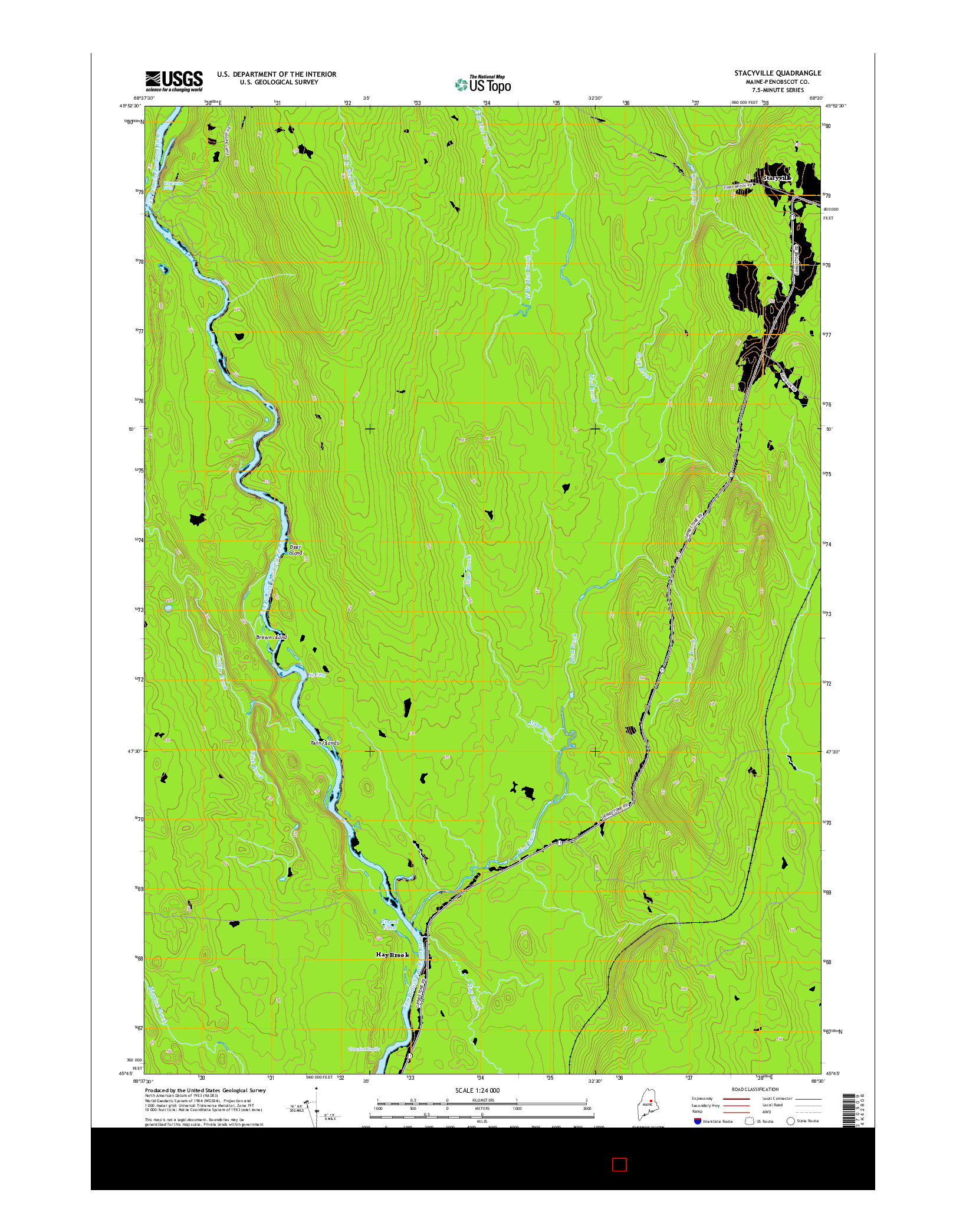USGS US TOPO 7.5-MINUTE MAP FOR STACYVILLE, ME 2014